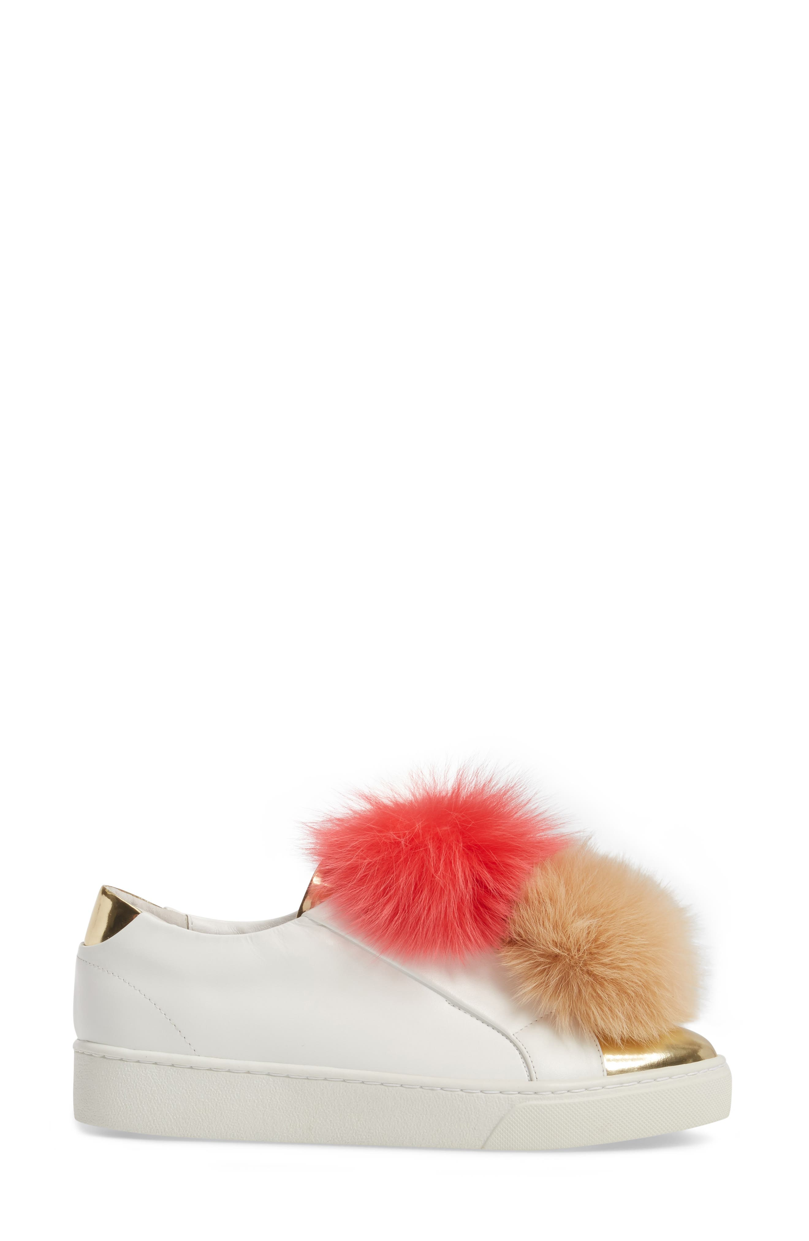 Coco Genuine Fox Fur Trim Platfrom Sneaker,                             Alternate thumbnail 3, color,                             Pink/Camel Leather