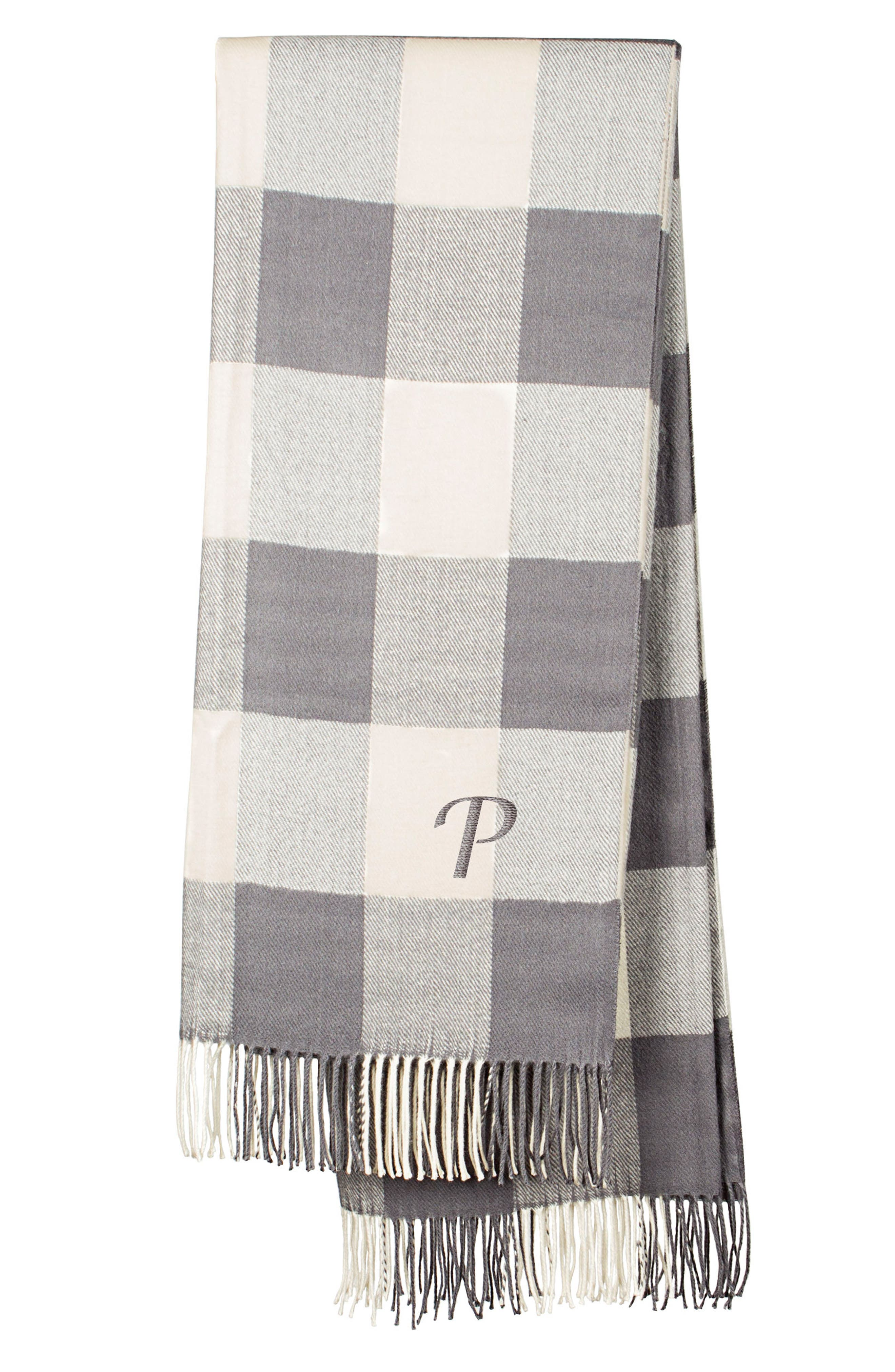 Cathy's Concepts Monogram Buffalo Check Throw
