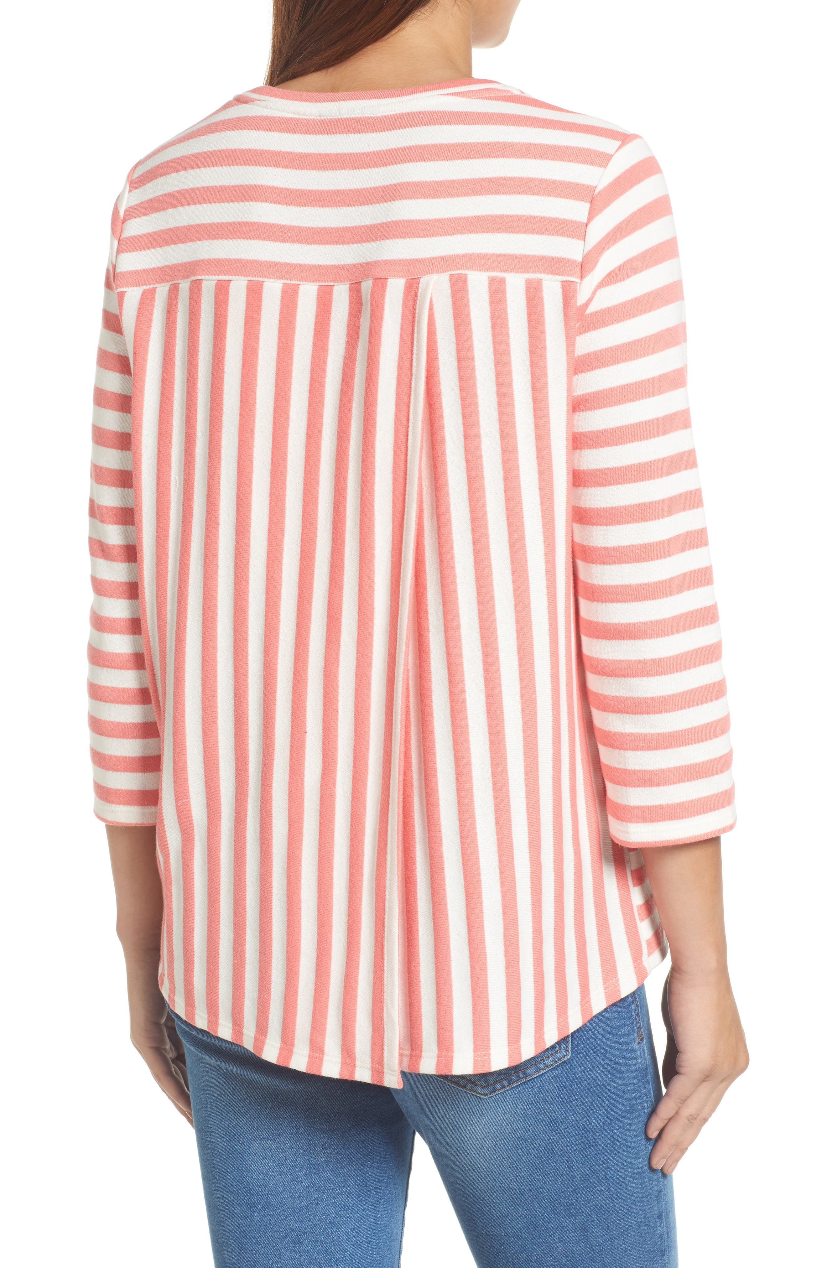 Halogen High/Low Cross Back Sweatshirt,                             Alternate thumbnail 2, color,                             Coral Sugar- White Stripe