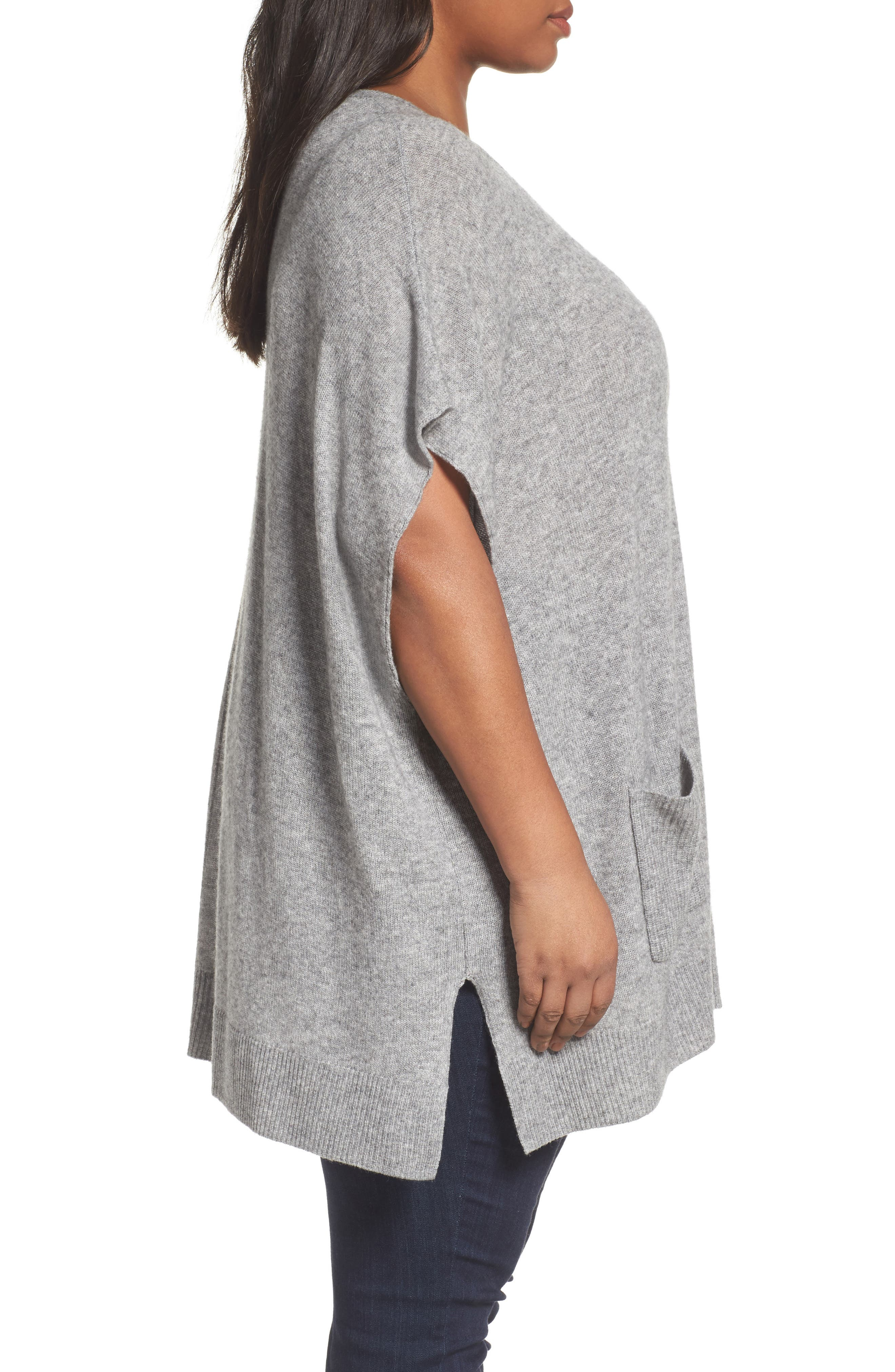 Alternate Image 3  - Sejour Ribbed Pocket Poncho (Plus Size)
