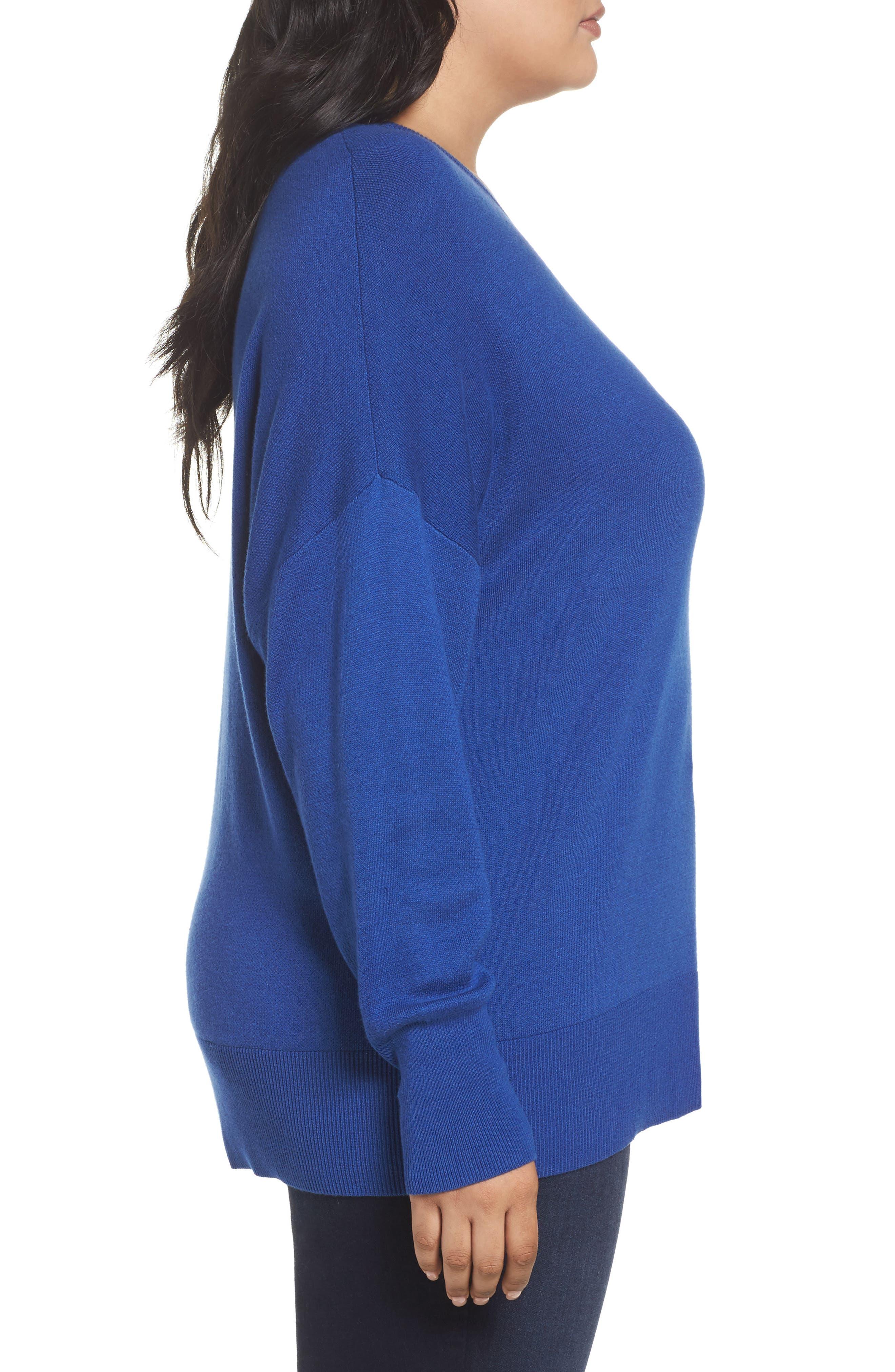 Dolman Sleeve Crewneck Sweater,                             Alternate thumbnail 3, color,                             Blue Mazarine