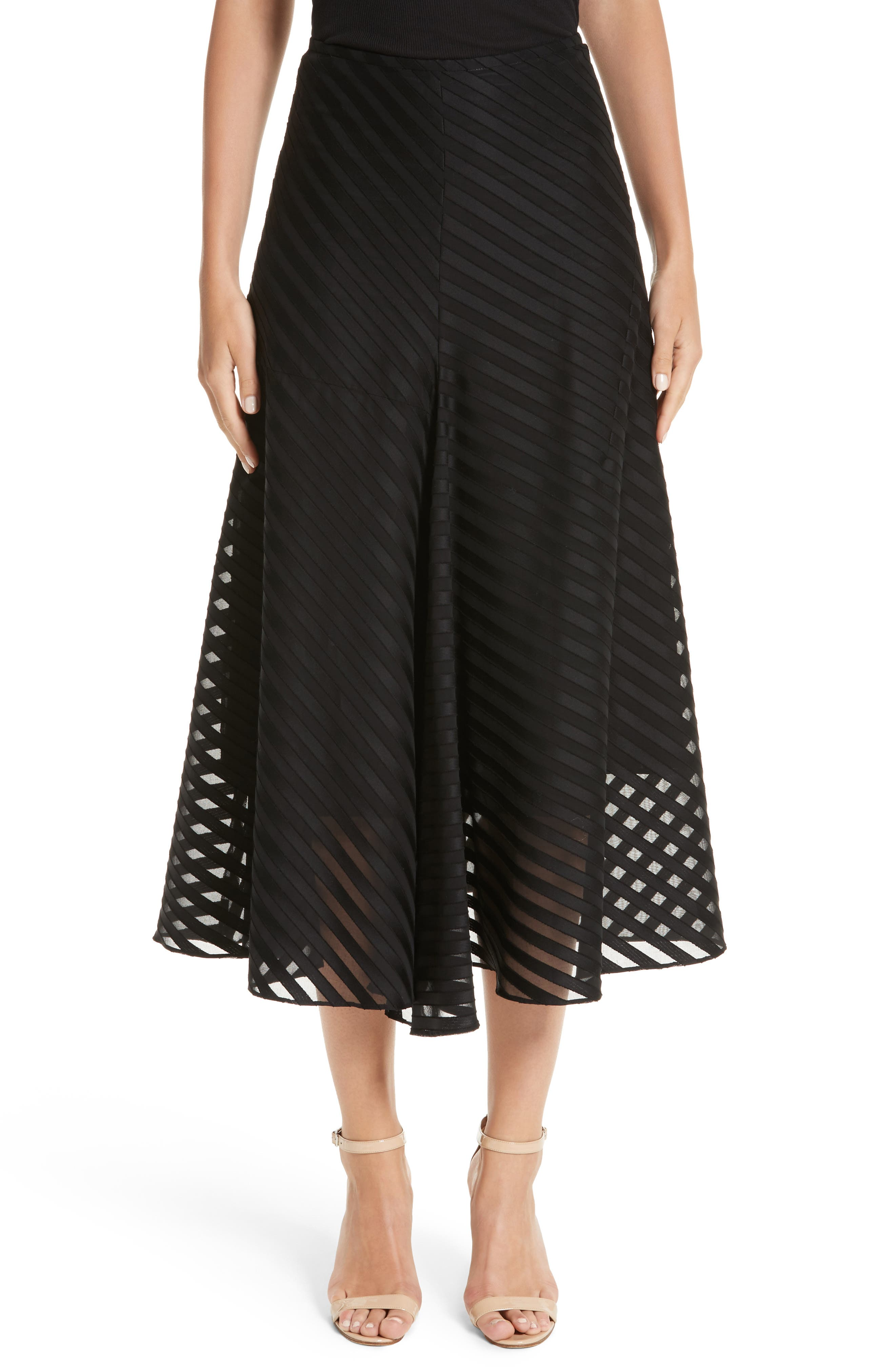 Akris Diagonal Stripe Cotton Voile Midi Skirt