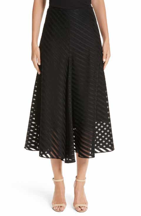 Akris Diagonal Stripe Cotton Voile Midi Skirt