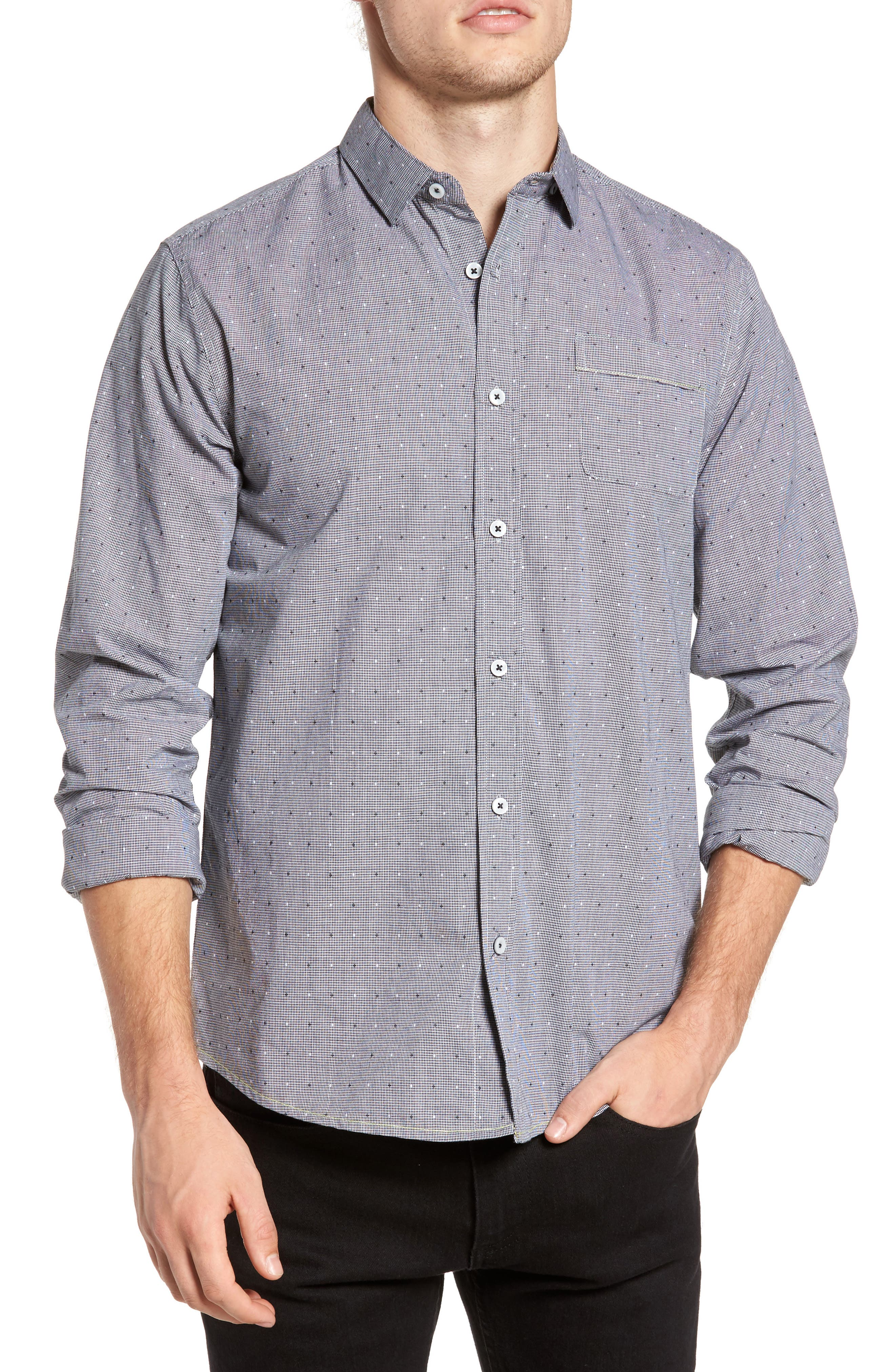 Cross the Check Sport Shirt,                         Main,                         color, Midnight