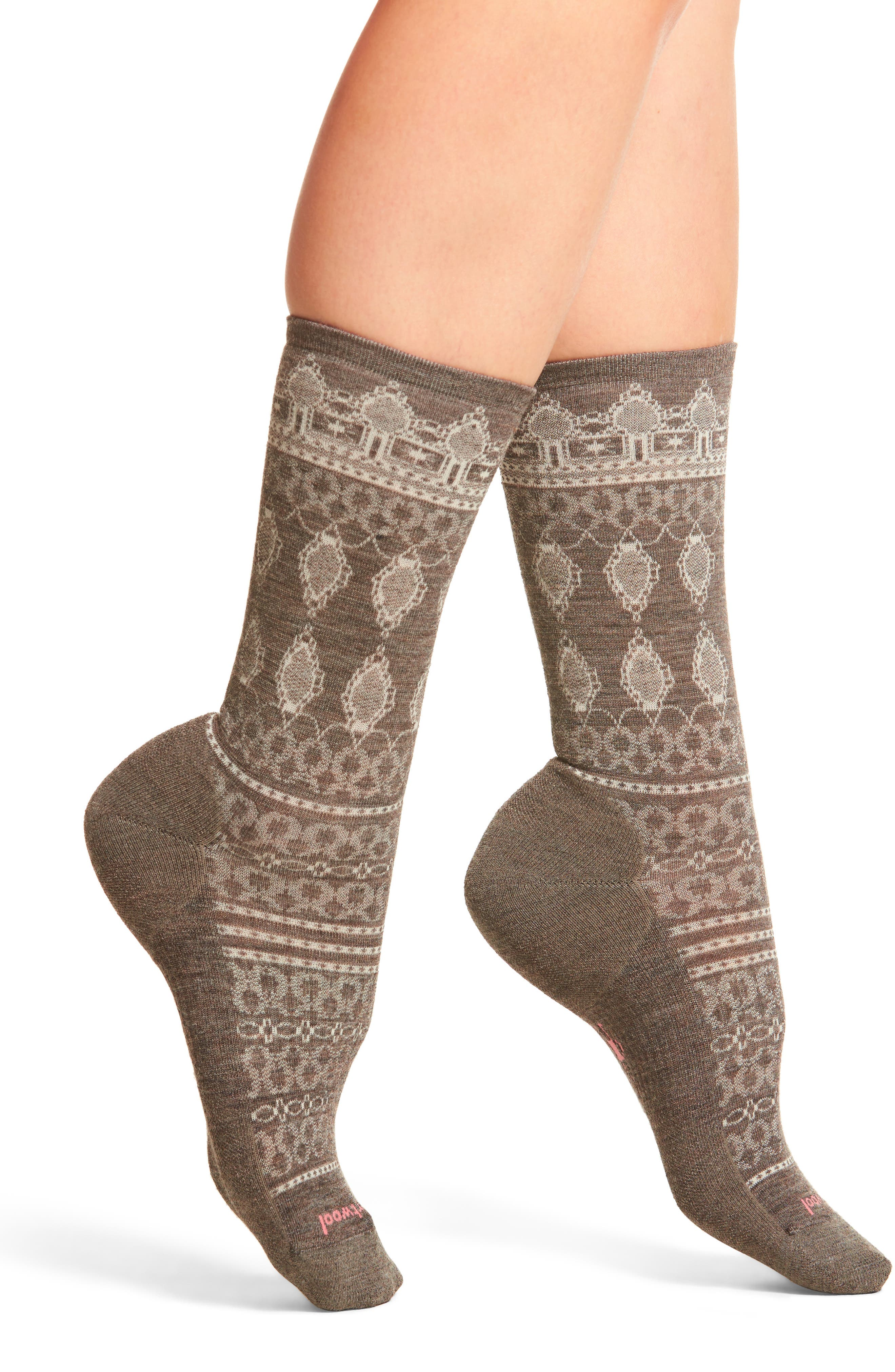 Lacet Crew Socks,                         Main,                         color, Taupe