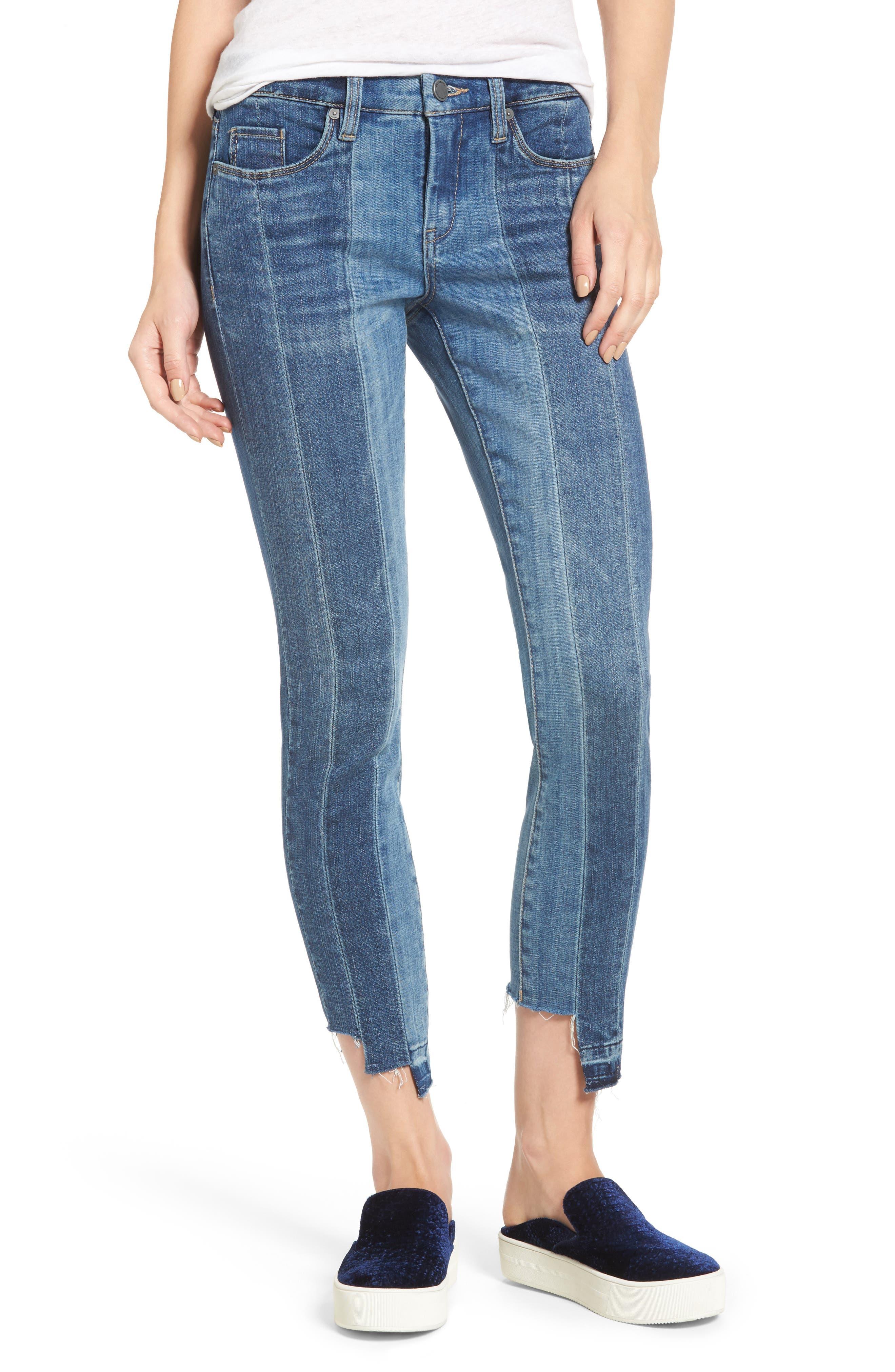 Step Hem Skinny Jeans,                         Main,                         color, Dark Wash