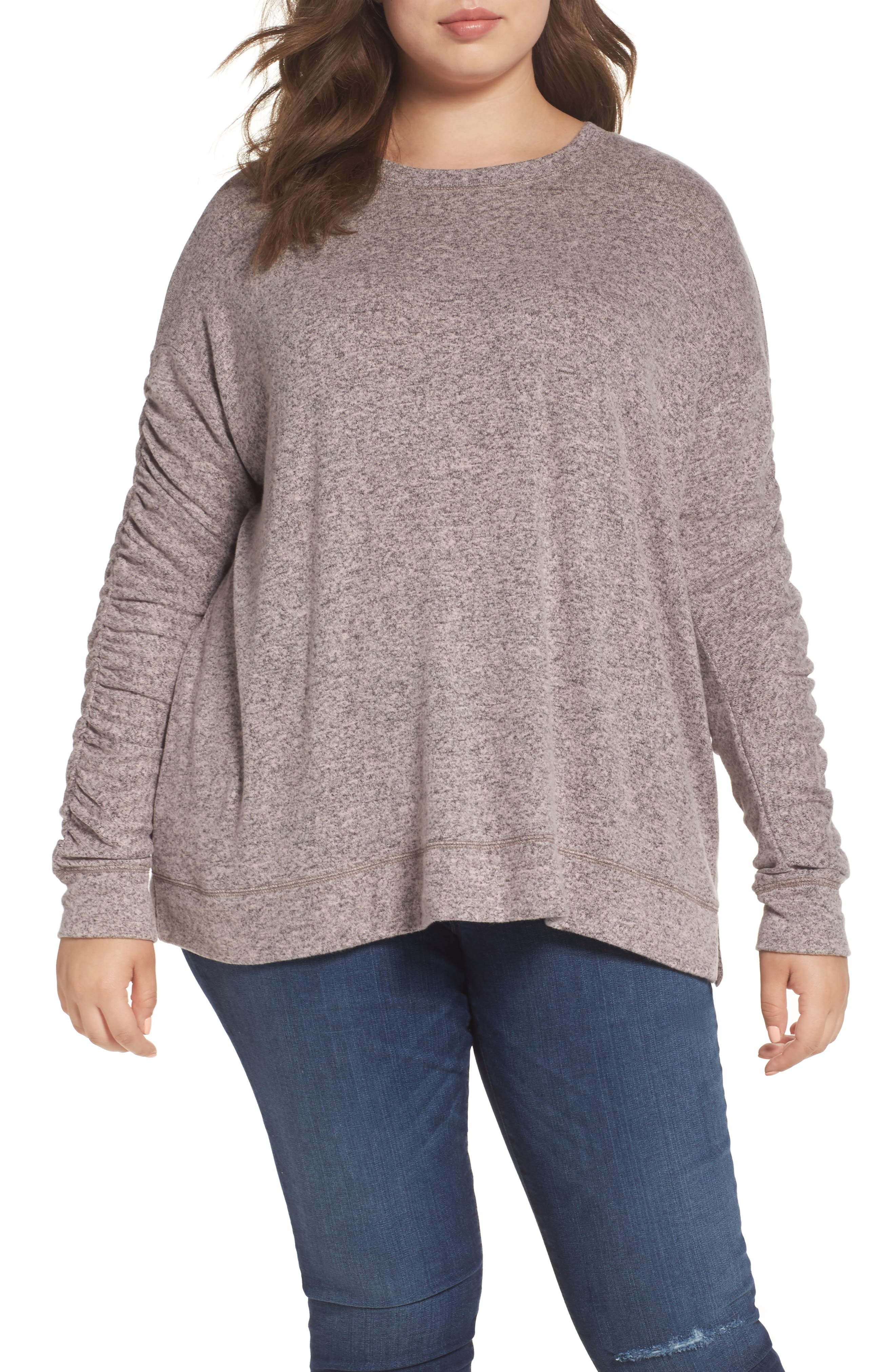 Caslon® Ruched Sleeve Cozy Pullover (Plus Size)