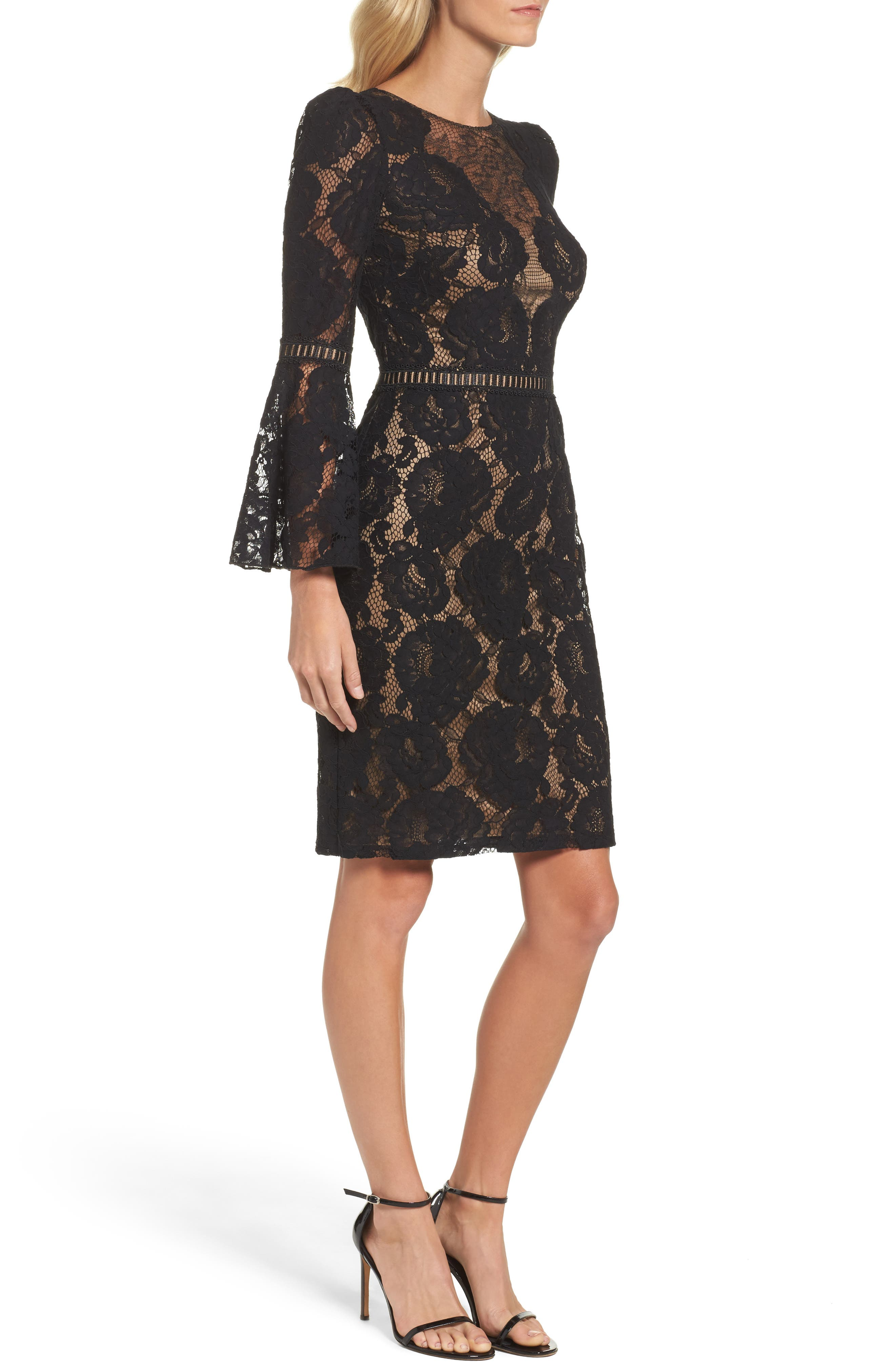 Lace Bell Sleeve Dress,                             Alternate thumbnail 3, color,                             Black/ Nude