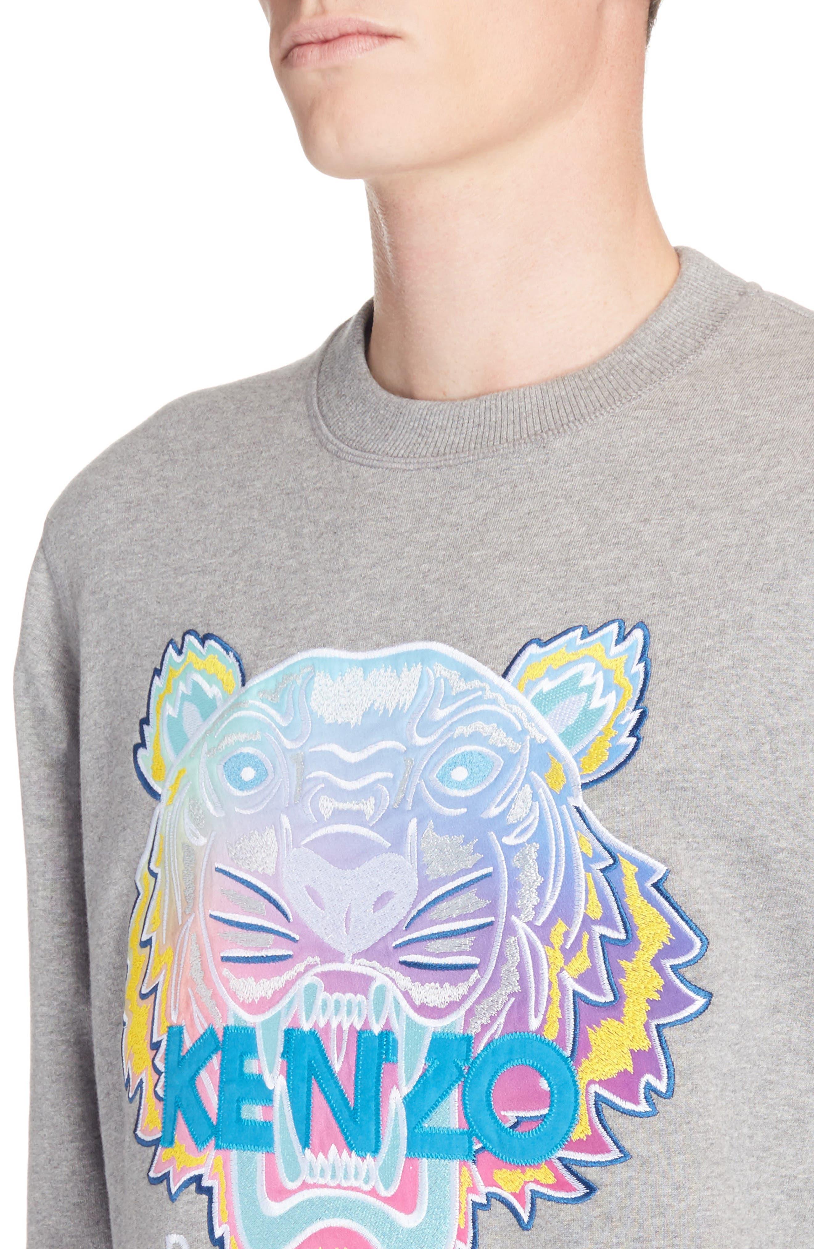 Rainbow Tiger Crewneck Sweatshirt,                             Alternate thumbnail 4, color,                             Dove Grey