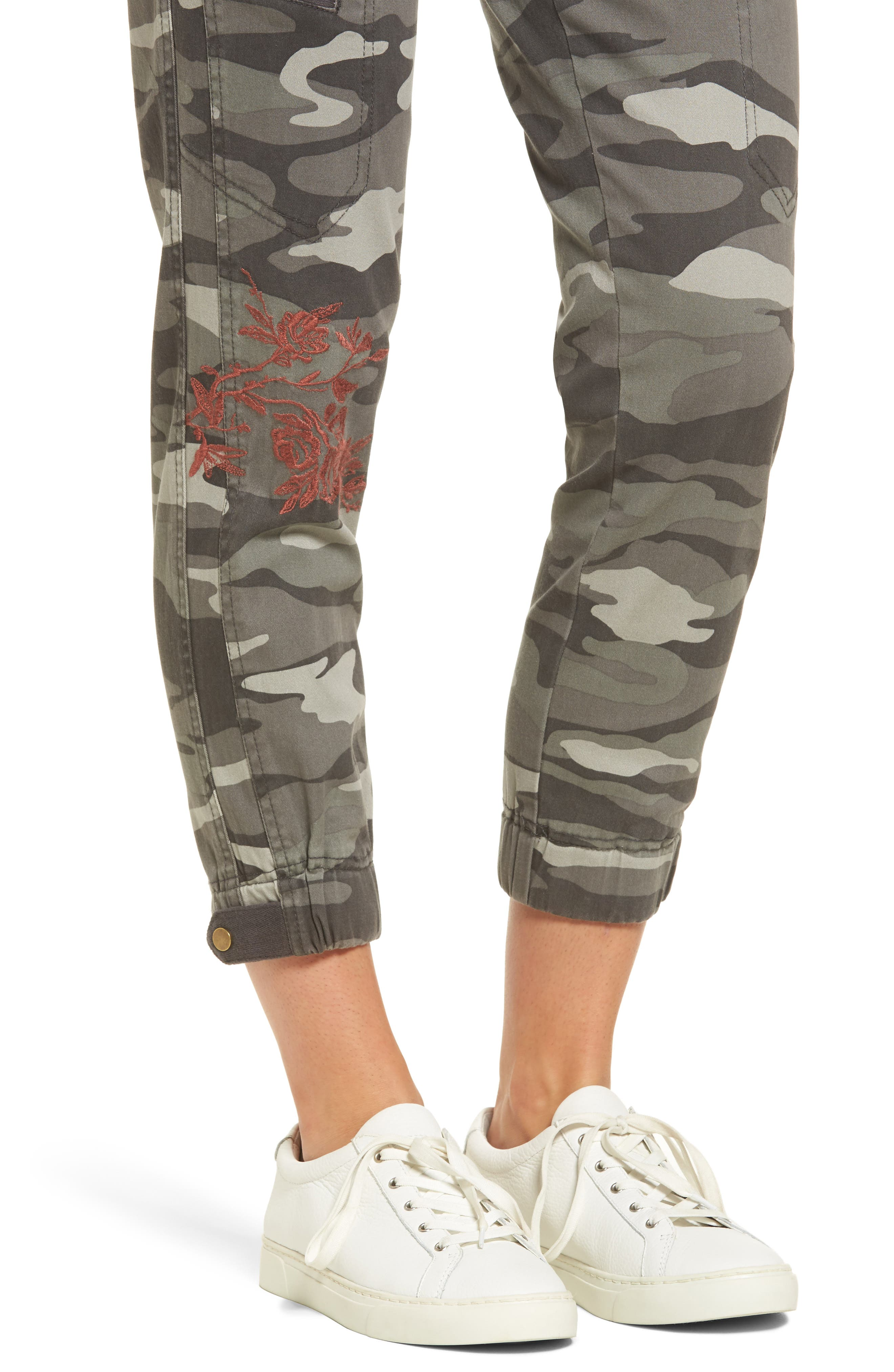 Embroidered Camo Utility Joggers,                             Alternate thumbnail 4, color,                             Sage