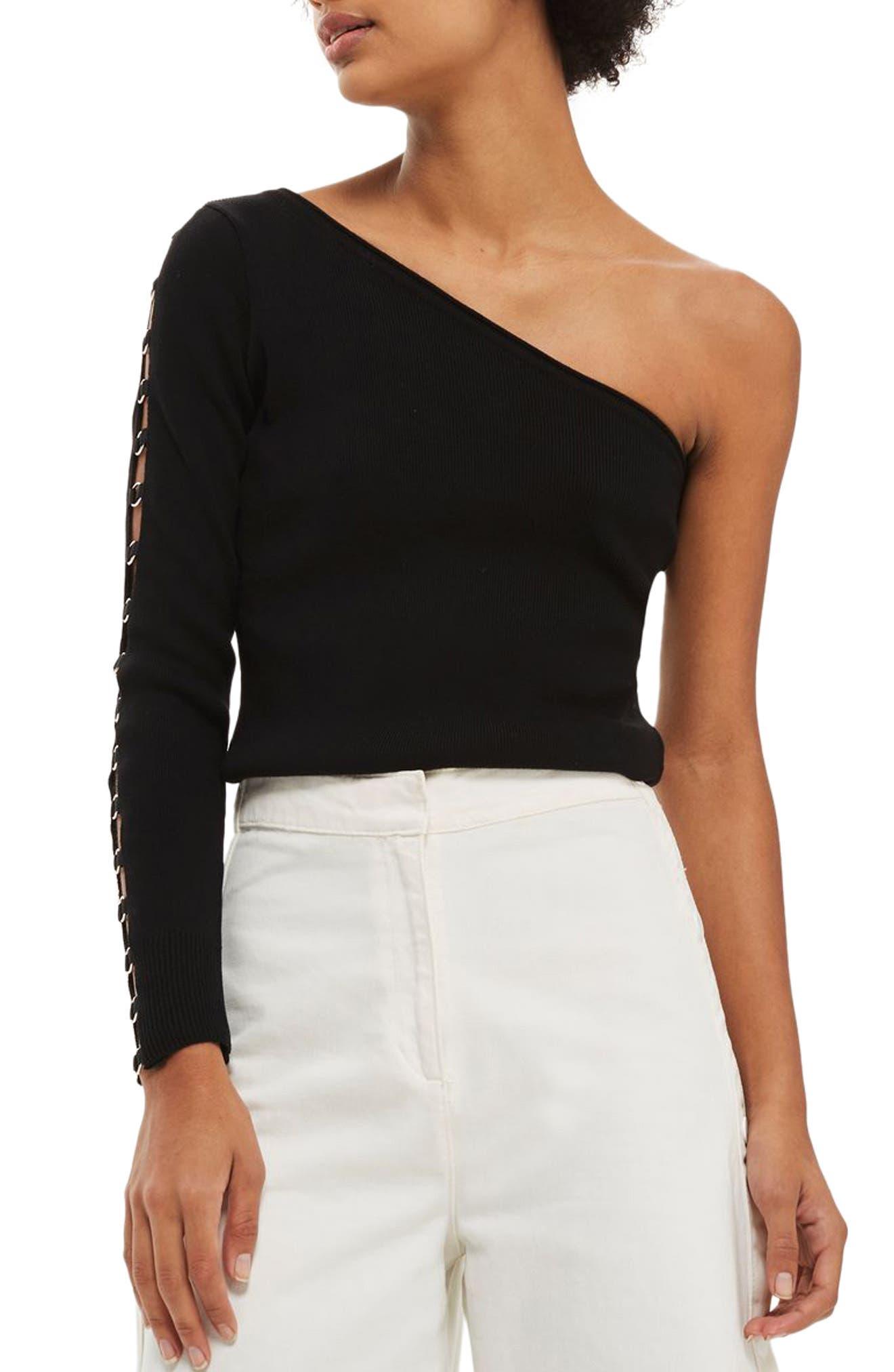 Topshop Hardware Knit One-Shoulder Top