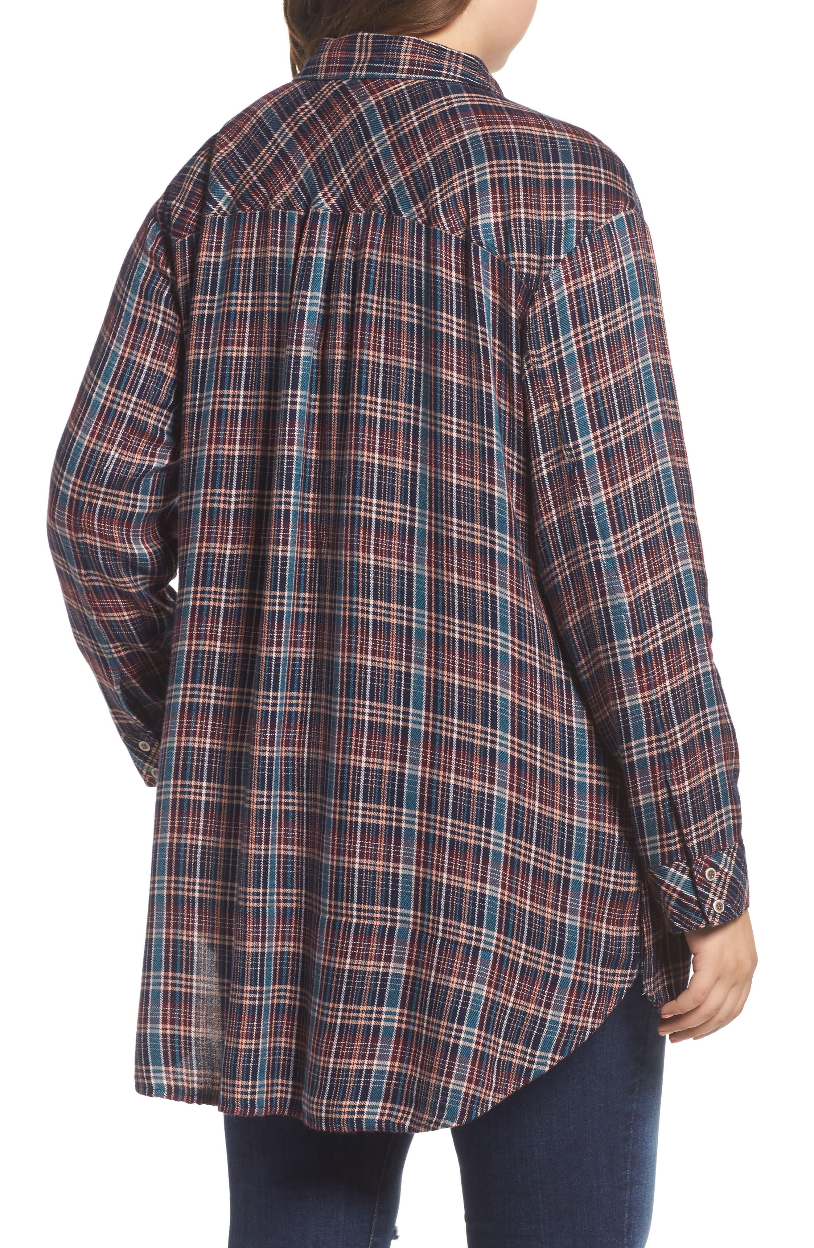 Button Side Detail Tunic Shirt,                             Alternate thumbnail 2, color,                             Navy Karen Plaid