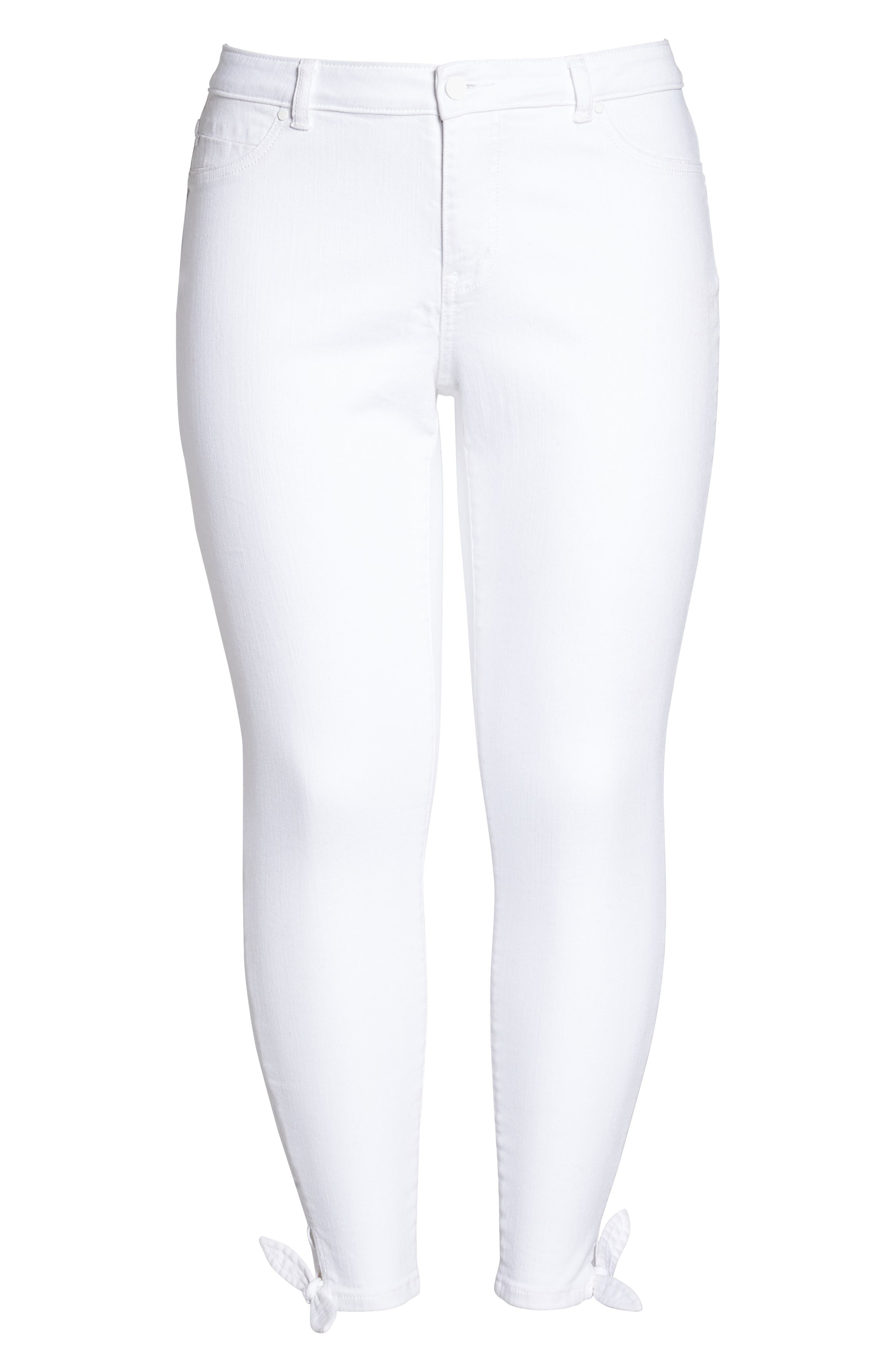 Tie Ankle Skinny Jeans,                             Alternate thumbnail 7, color,                             White