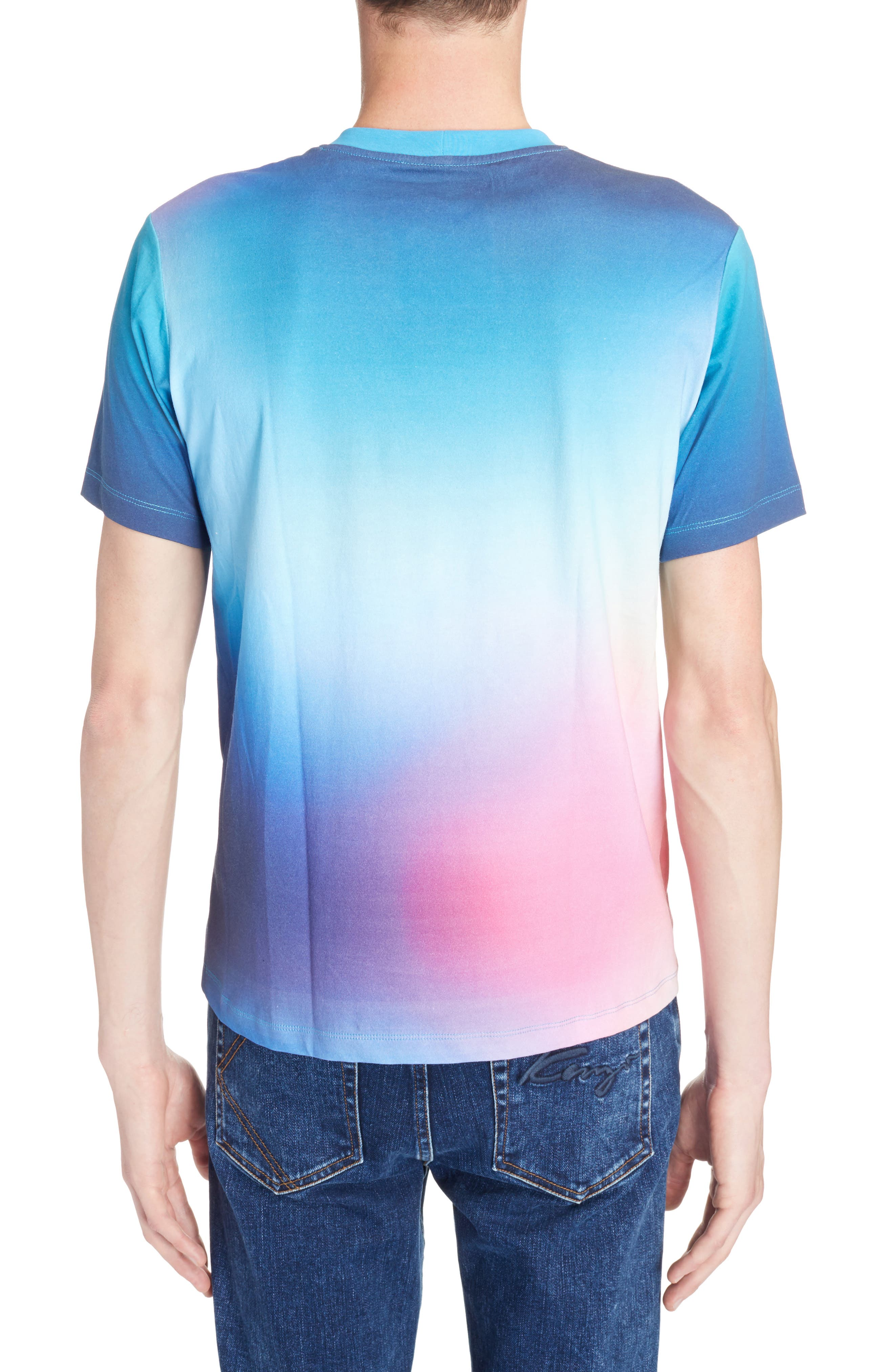Rainbow Tiger Print T-Shirt,                             Alternate thumbnail 2, color,                             Cyan Blue