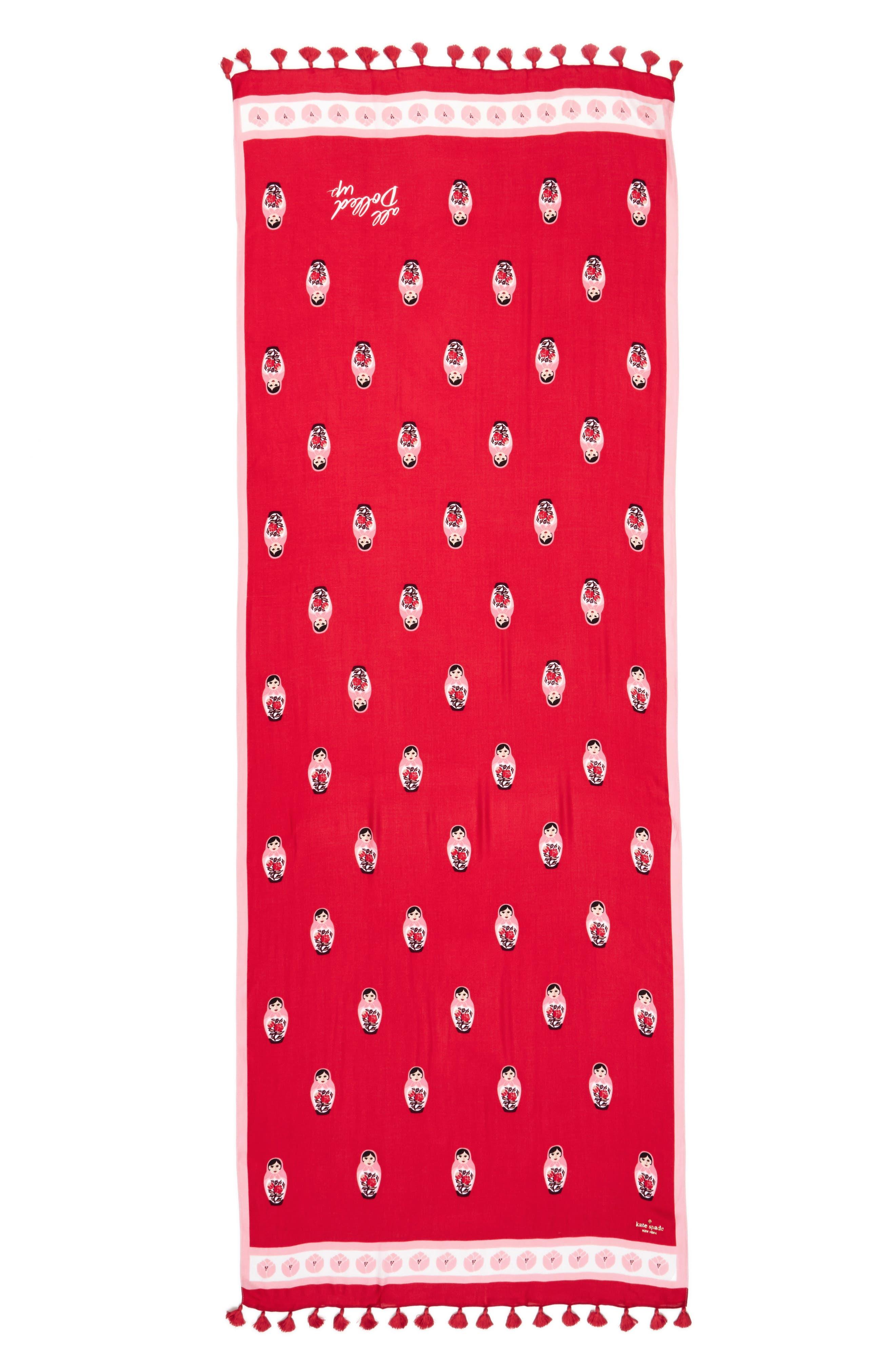 nesting dolls tassel scarf,                             Alternate thumbnail 2, color,                             Charm Red
