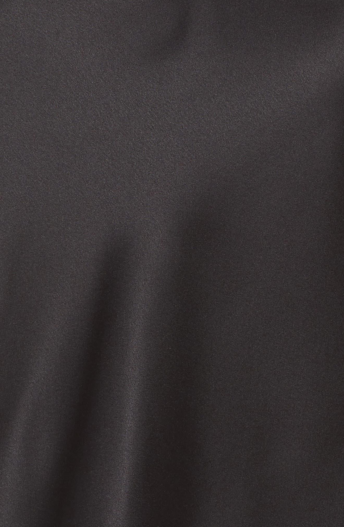 Jacquelyne Charm Satin Short Pajamas,                             Alternate thumbnail 5, color,                             Black