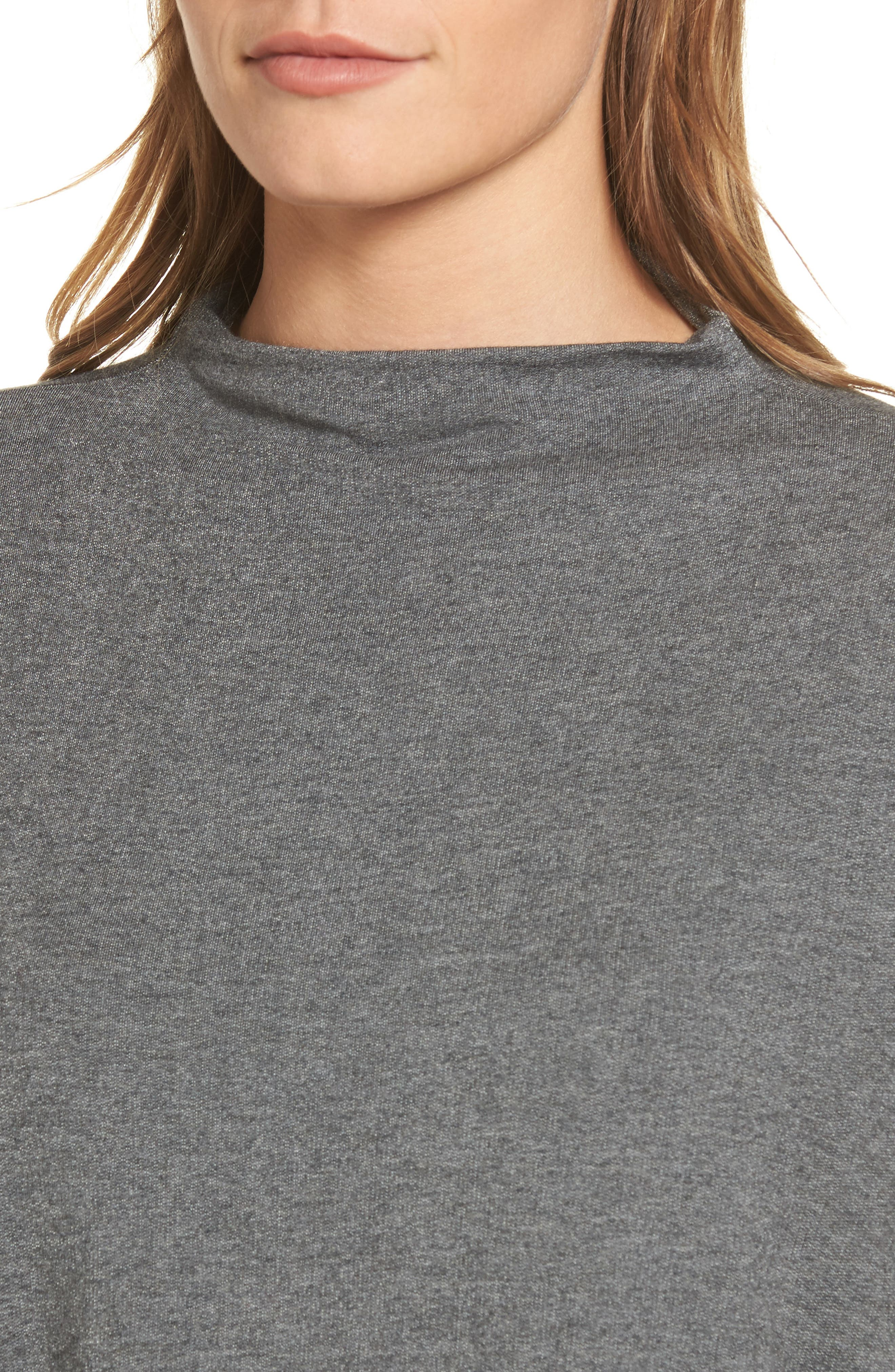 High Neck Sweatshirt,                             Alternate thumbnail 4, color,                             Charcoal Mix