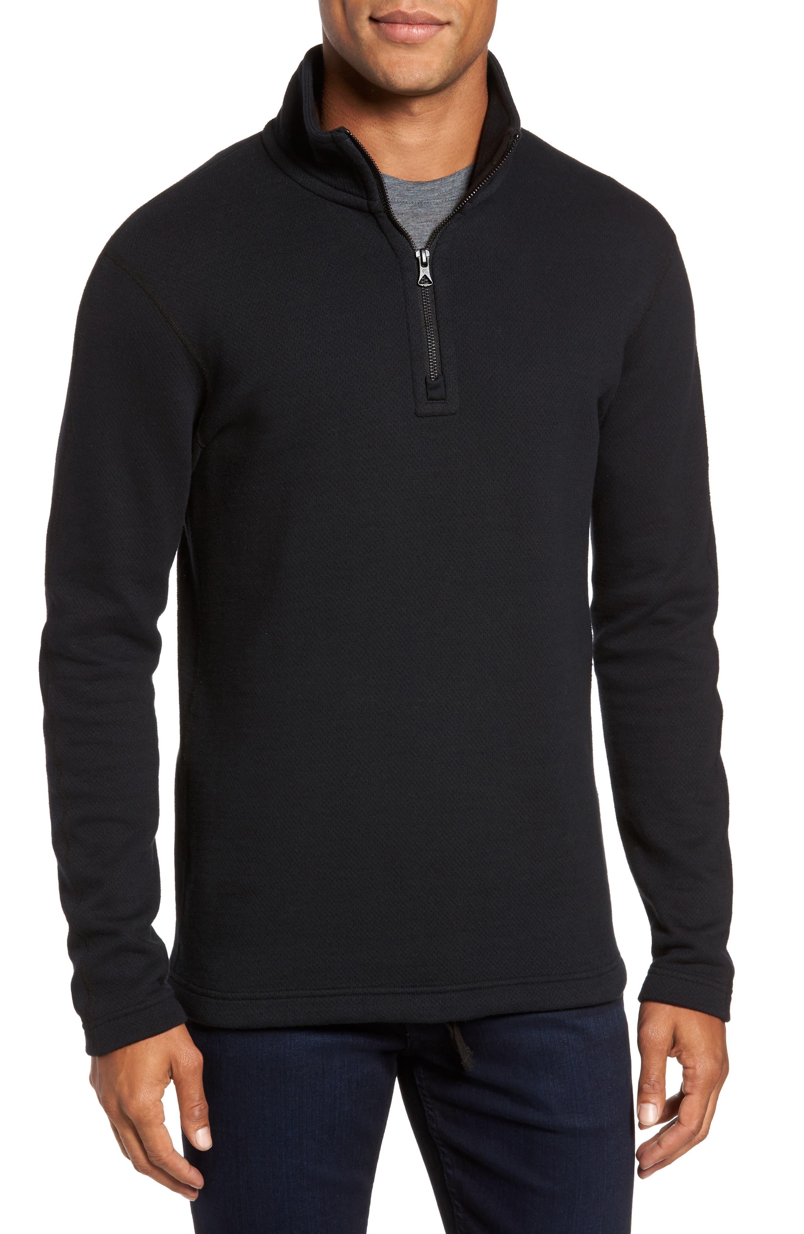 Mesh Half Zip Fleece Top,                         Main,                         color, Black