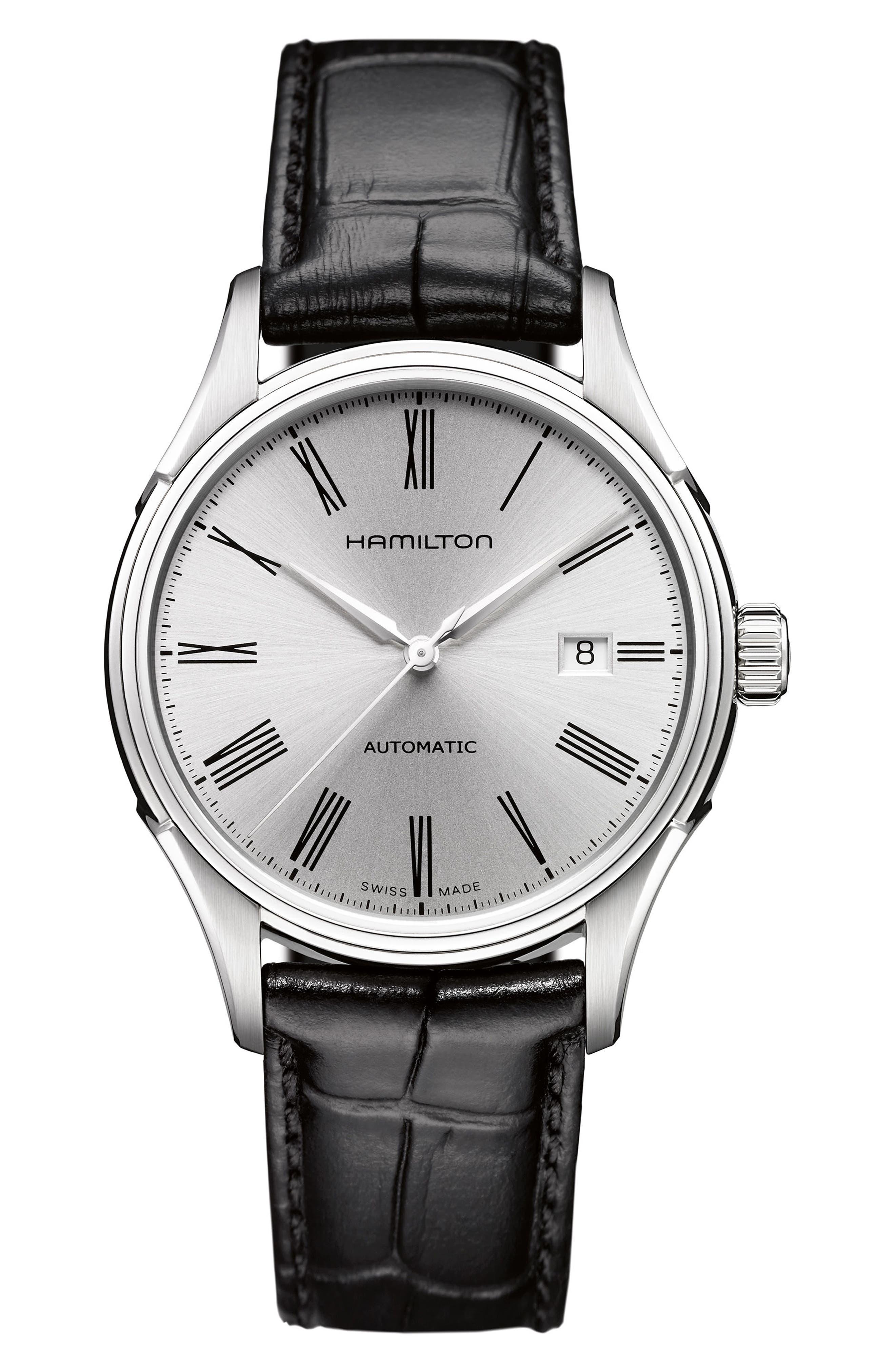 Main Image - Hamilton Valiant Automatic Leather Strap Watch, 40mm