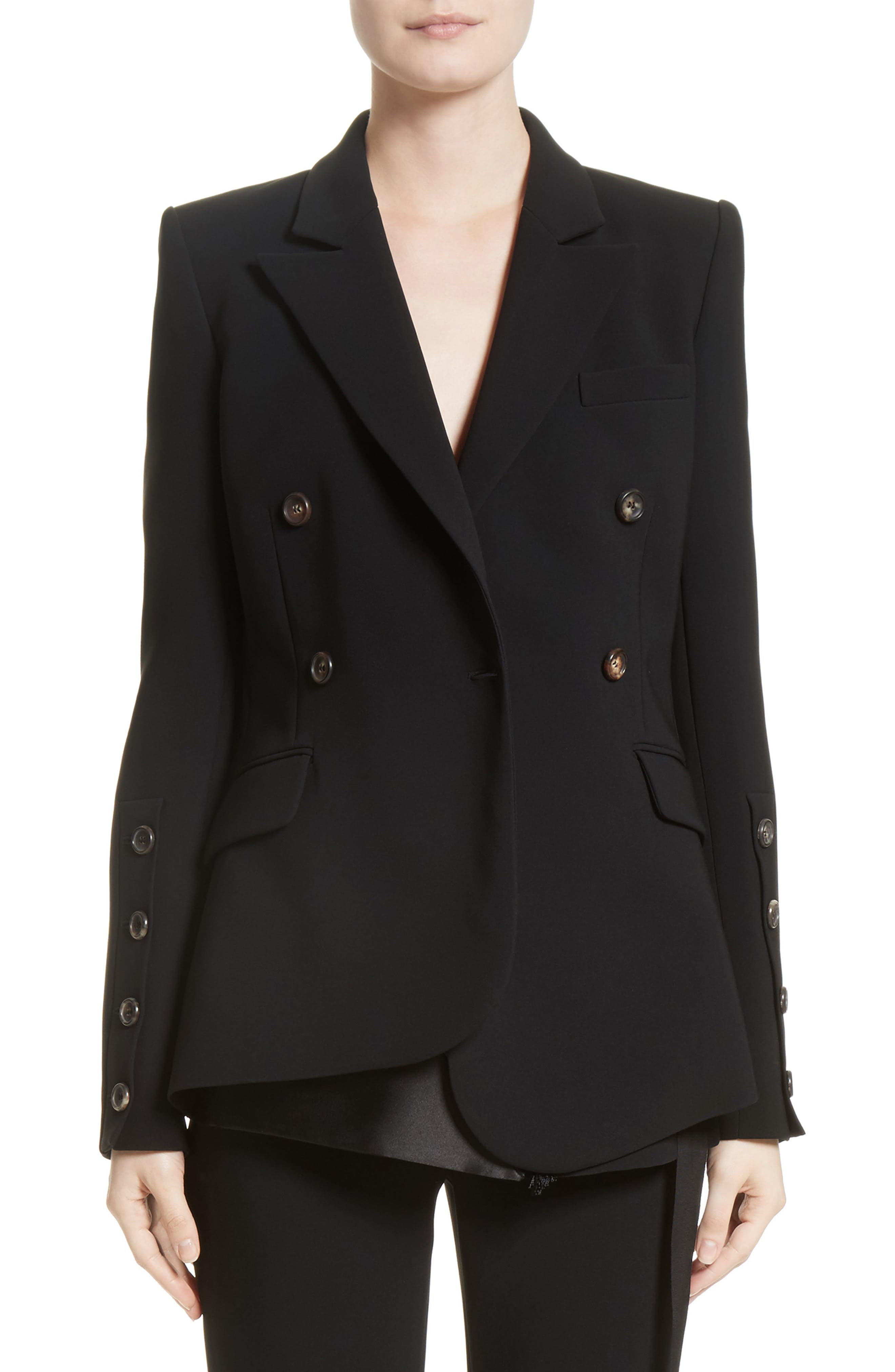 Wall Button Sleeve Double Breasted Jacket,                             Main thumbnail 1, color,                             Black