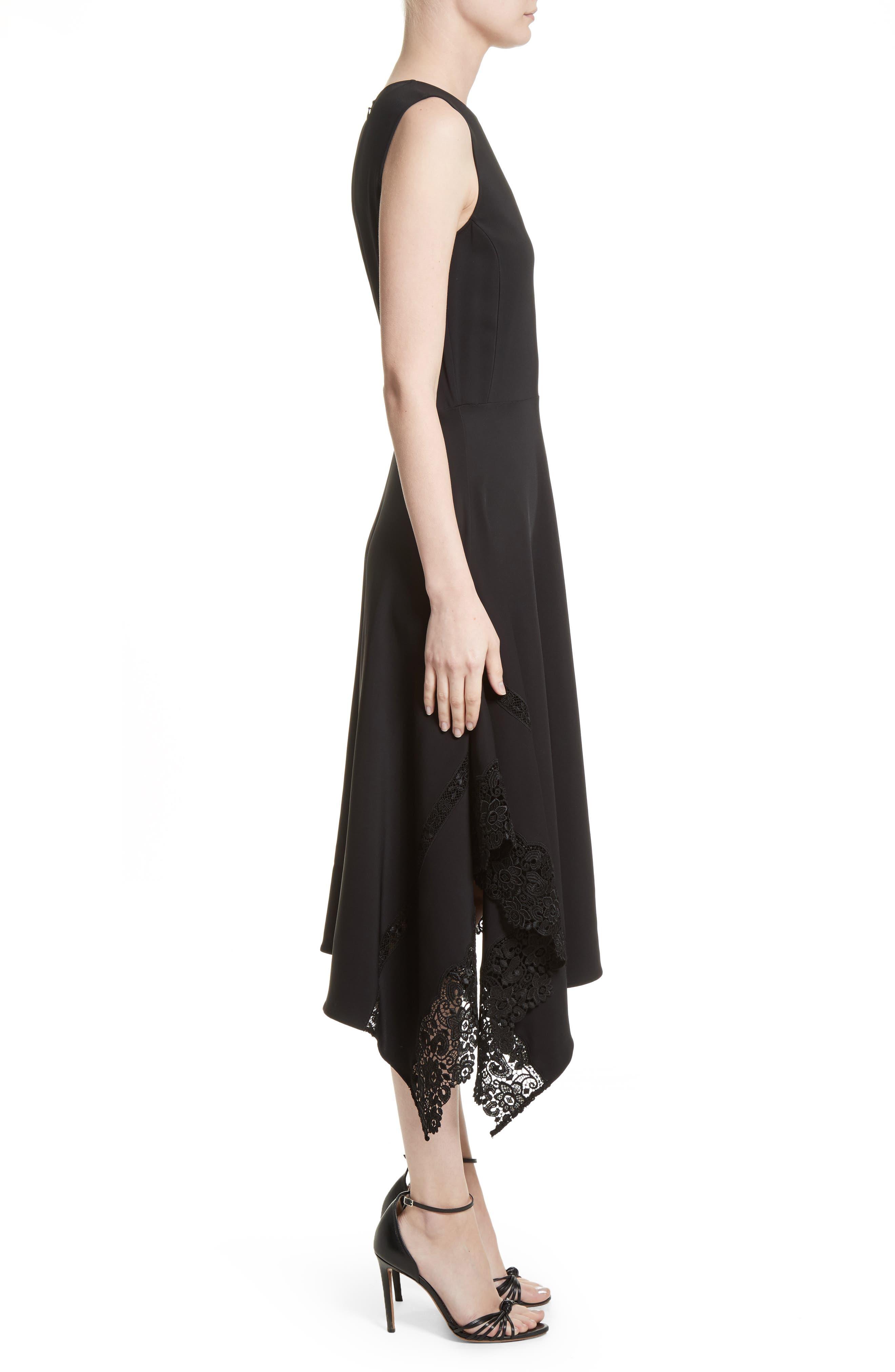 Lace Hem Midi Dress,                             Alternate thumbnail 3, color,                             Black