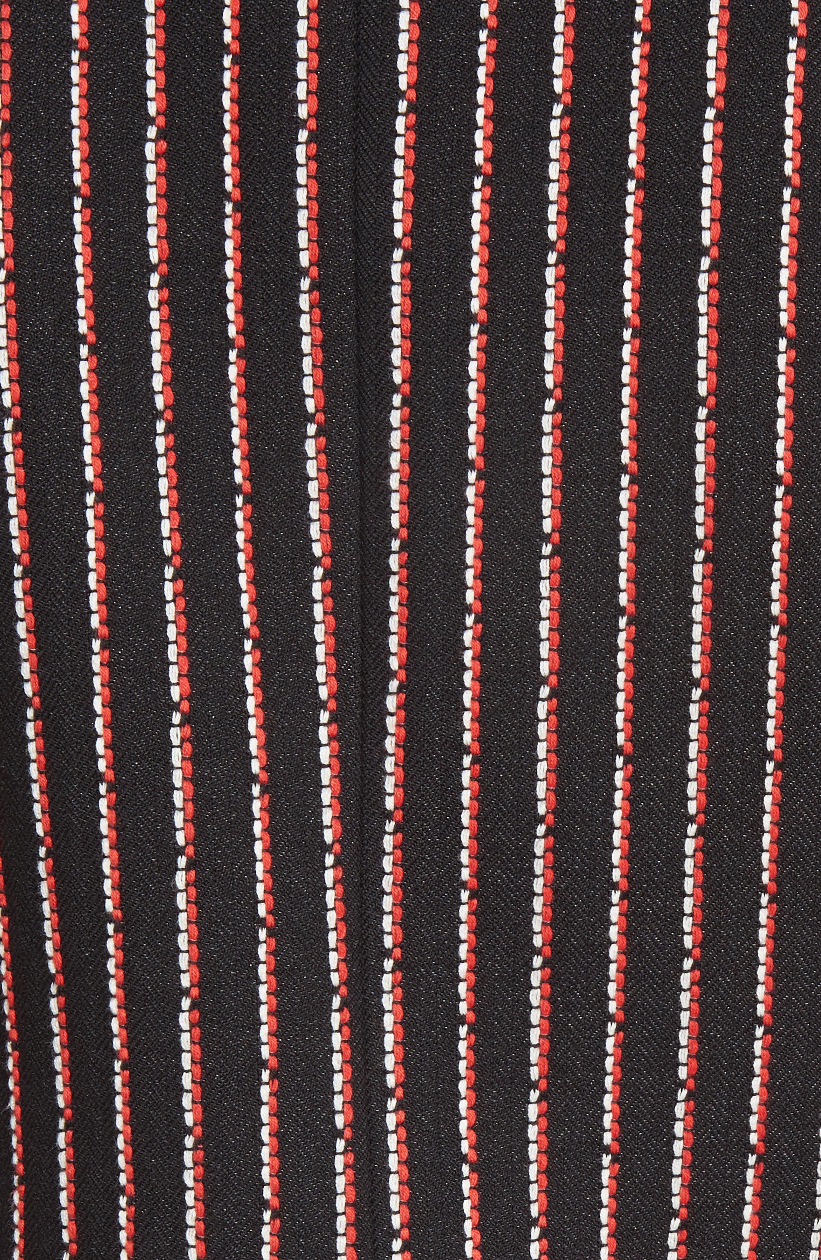 Pinstripe Double Breasted Blazer,                             Alternate thumbnail 6, color,                             Black White Persimmon