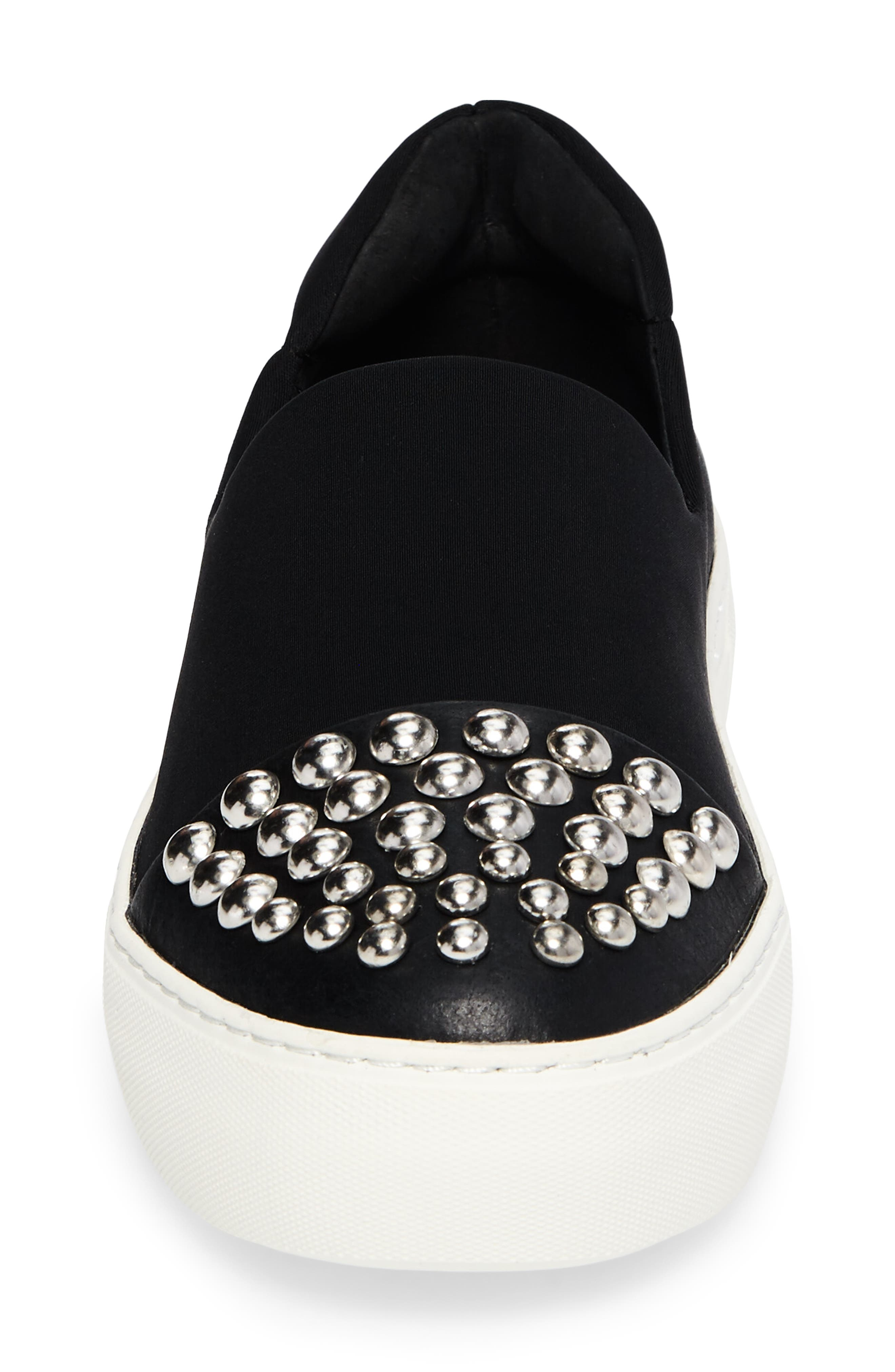 Aristocrat Studded Cap Toe Slip-On,                             Alternate thumbnail 4, color,                             Black Fabric