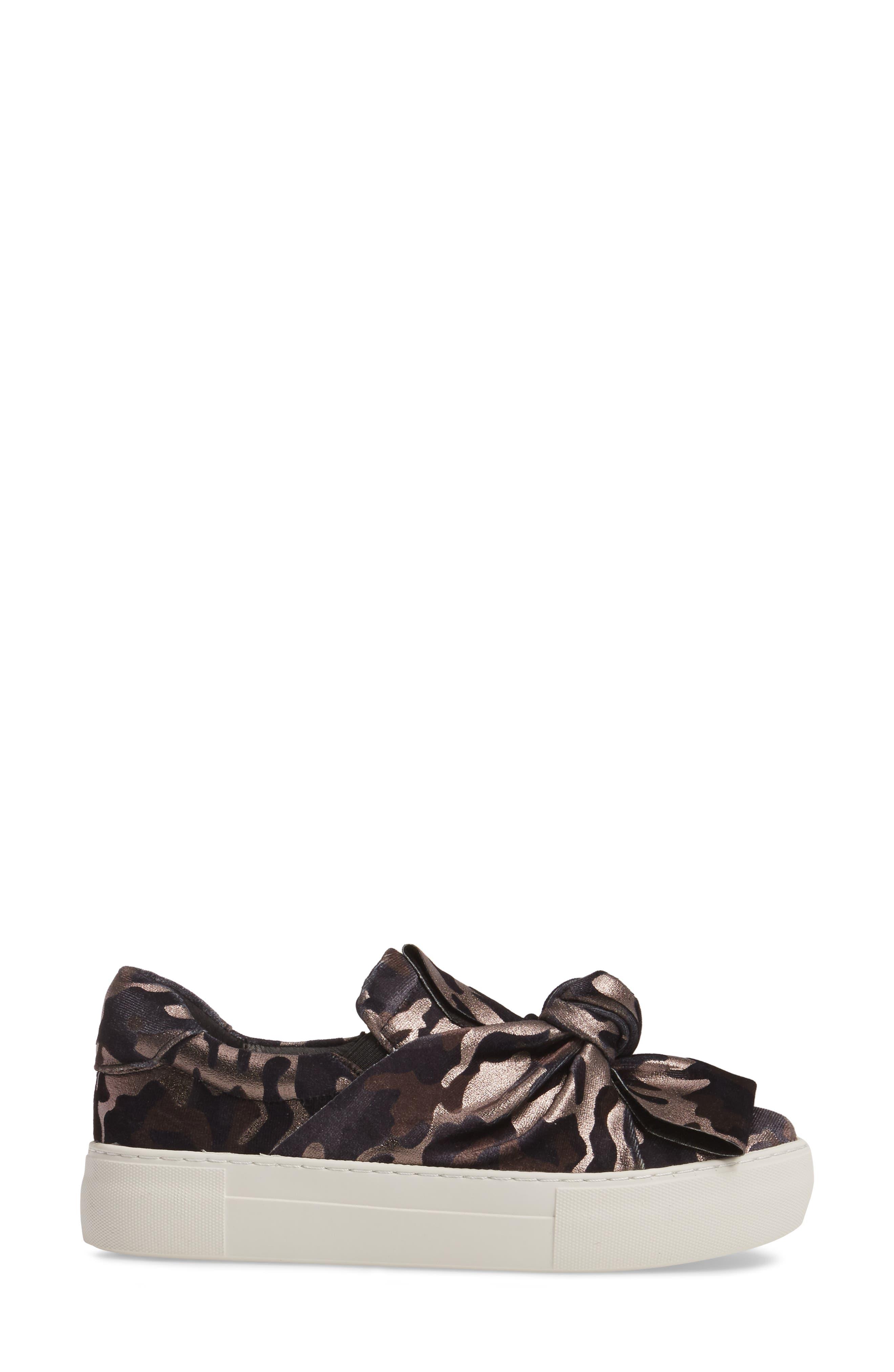 Audra Slip-On Sneaker,                             Alternate thumbnail 3, color,                             Black Camo Fabric