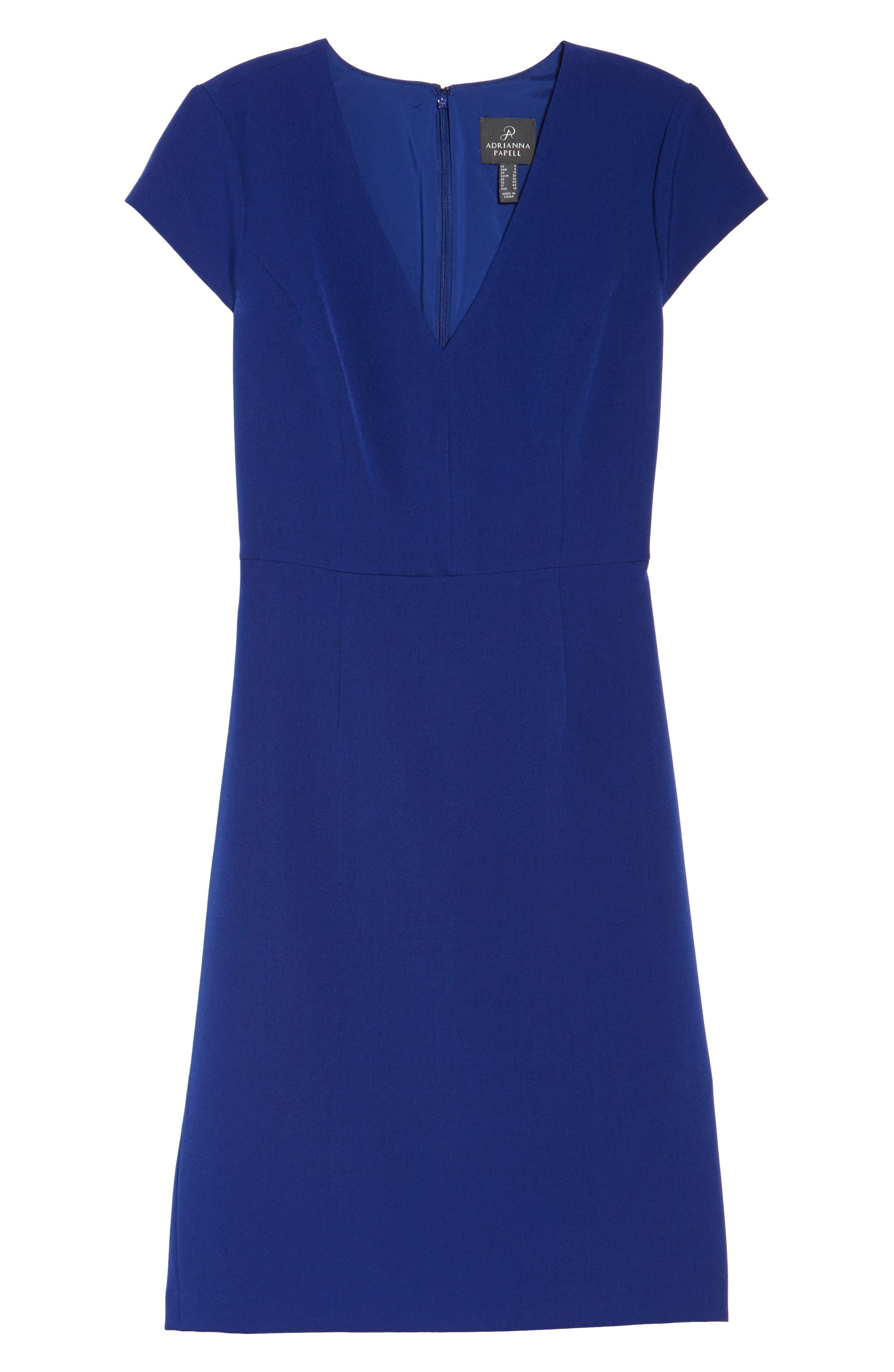 Alternate Image 6  - Adrianna Papell Crepe Sheath Dress (Regular & Petite)