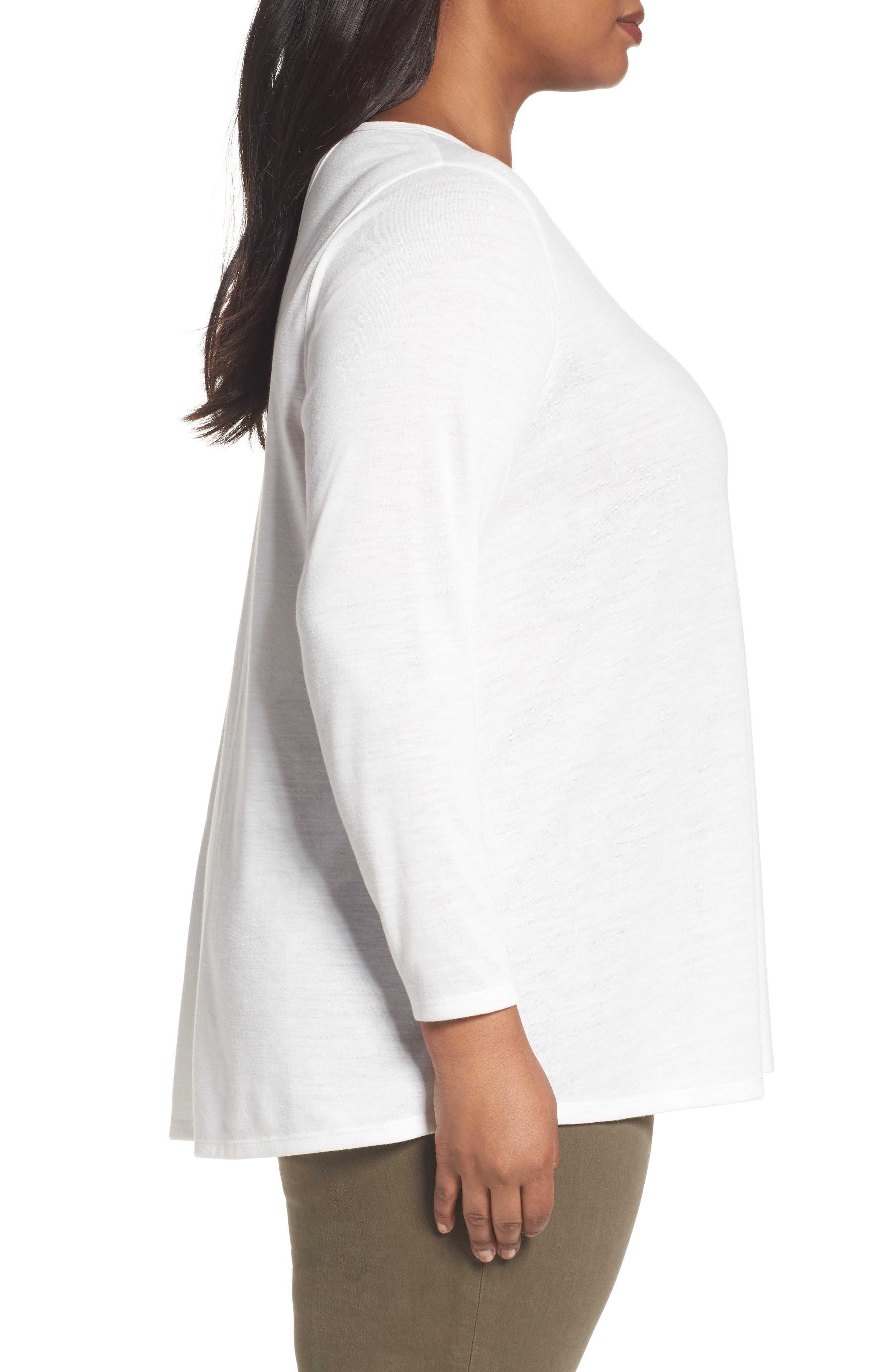 Alternate Image 3  - Sejour Back Tie Long Sleeve Swing Tee (Plus Size)