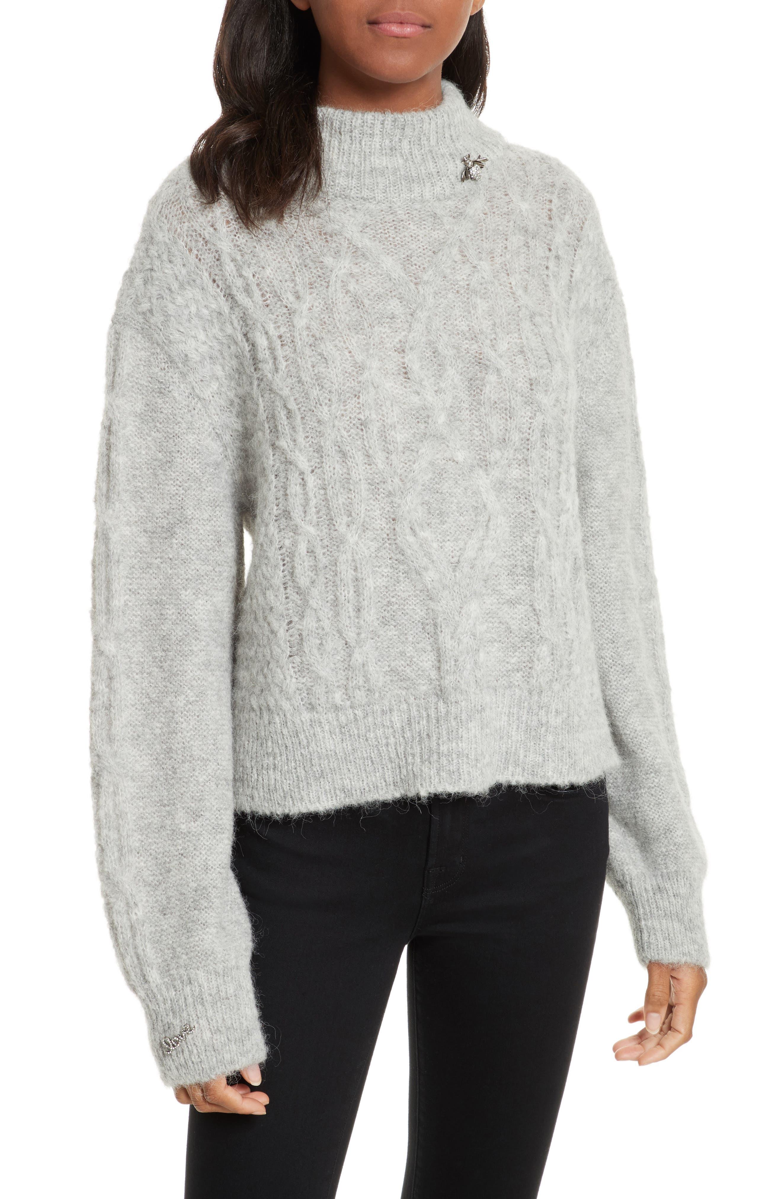 Garlan Mock Neck Sweater,                             Main thumbnail 1, color,                             Light Heather Grey