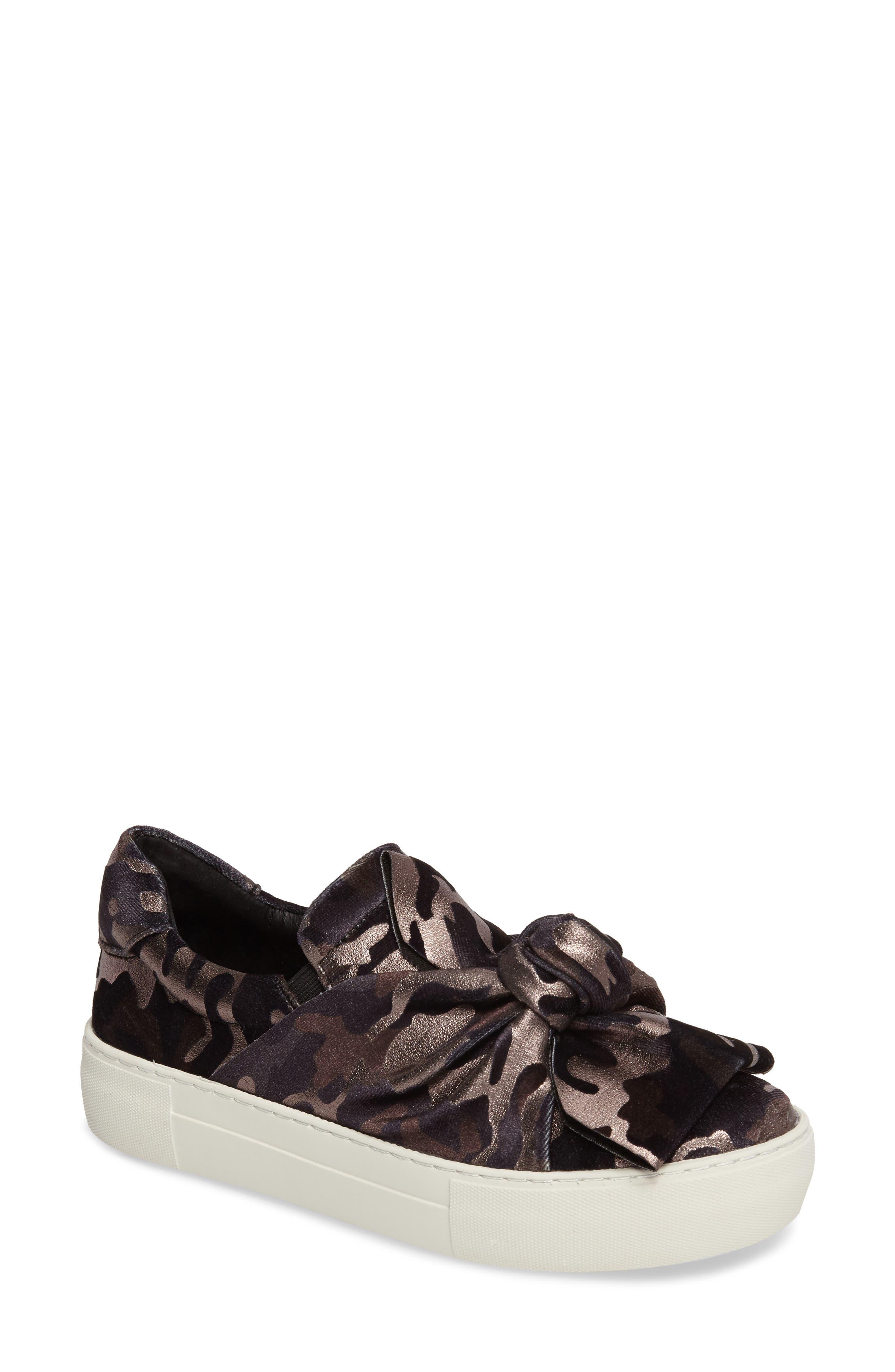 Audra Slip-On Sneaker,                             Main thumbnail 1, color,                             Black Camo Fabric