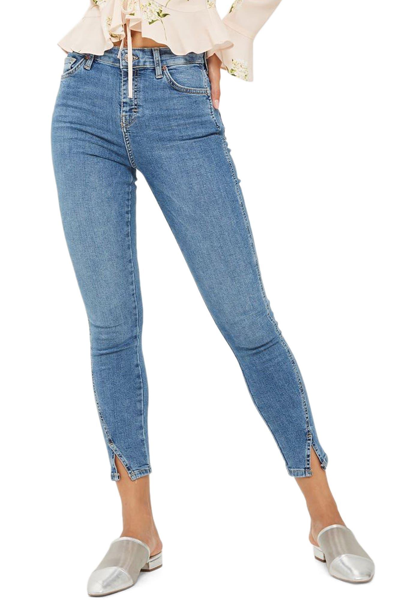 Jamie Twist Hem Skinny Jeans,                             Main thumbnail 1, color,                             Mid Denim