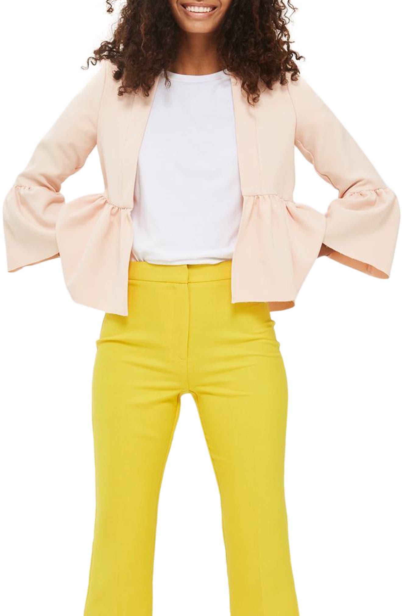 Bella Ruffle Crop Jacket,                         Main,                         color, Nude
