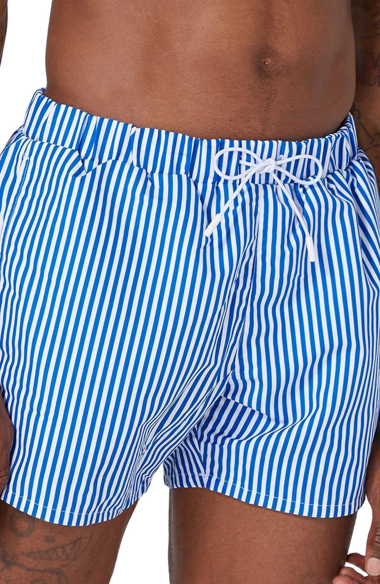 Stripe Swim Trunks,                             Alternate thumbnail 3, color,                             Mid Blue Multi