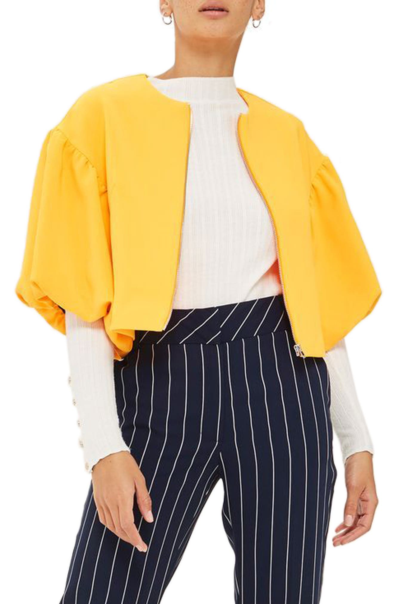Topshop Puff Sleeve Crop Jacket