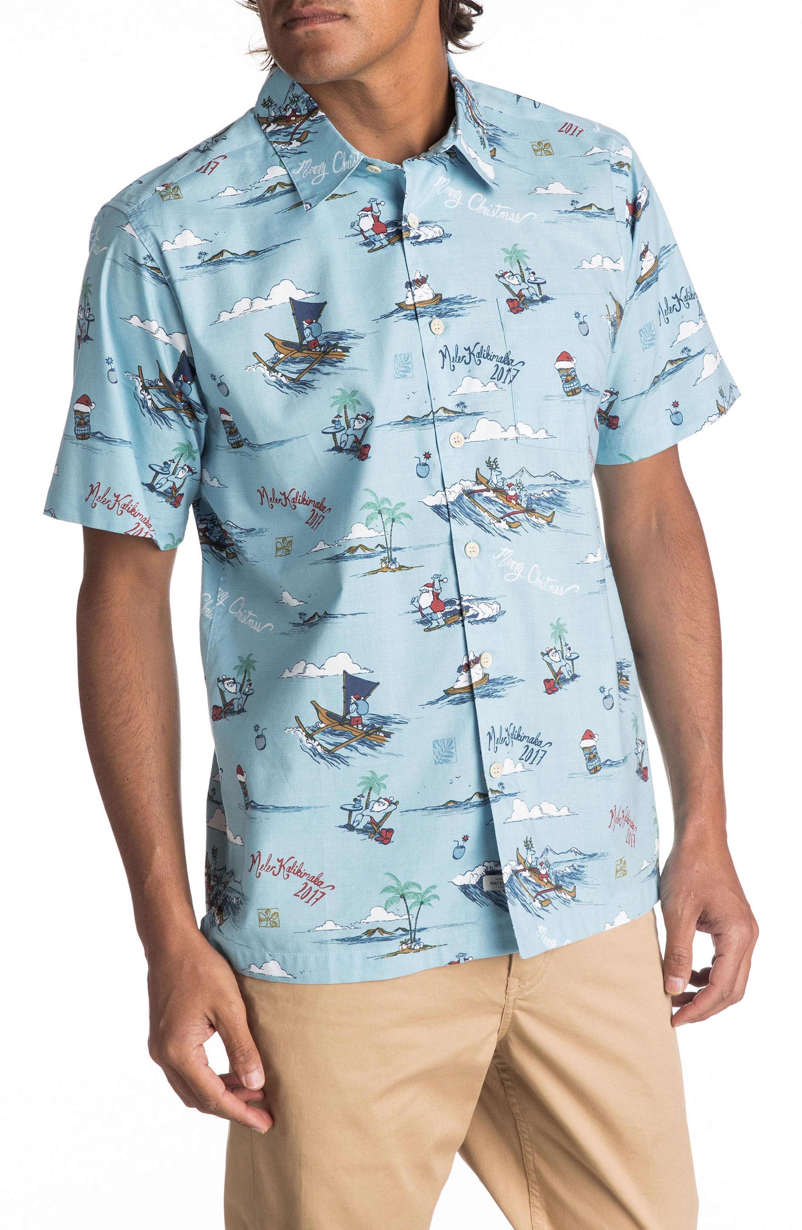 Alternate Image 1 Selected - Quiksilver Waterman Collection Christmas In Makano Camp Shirt