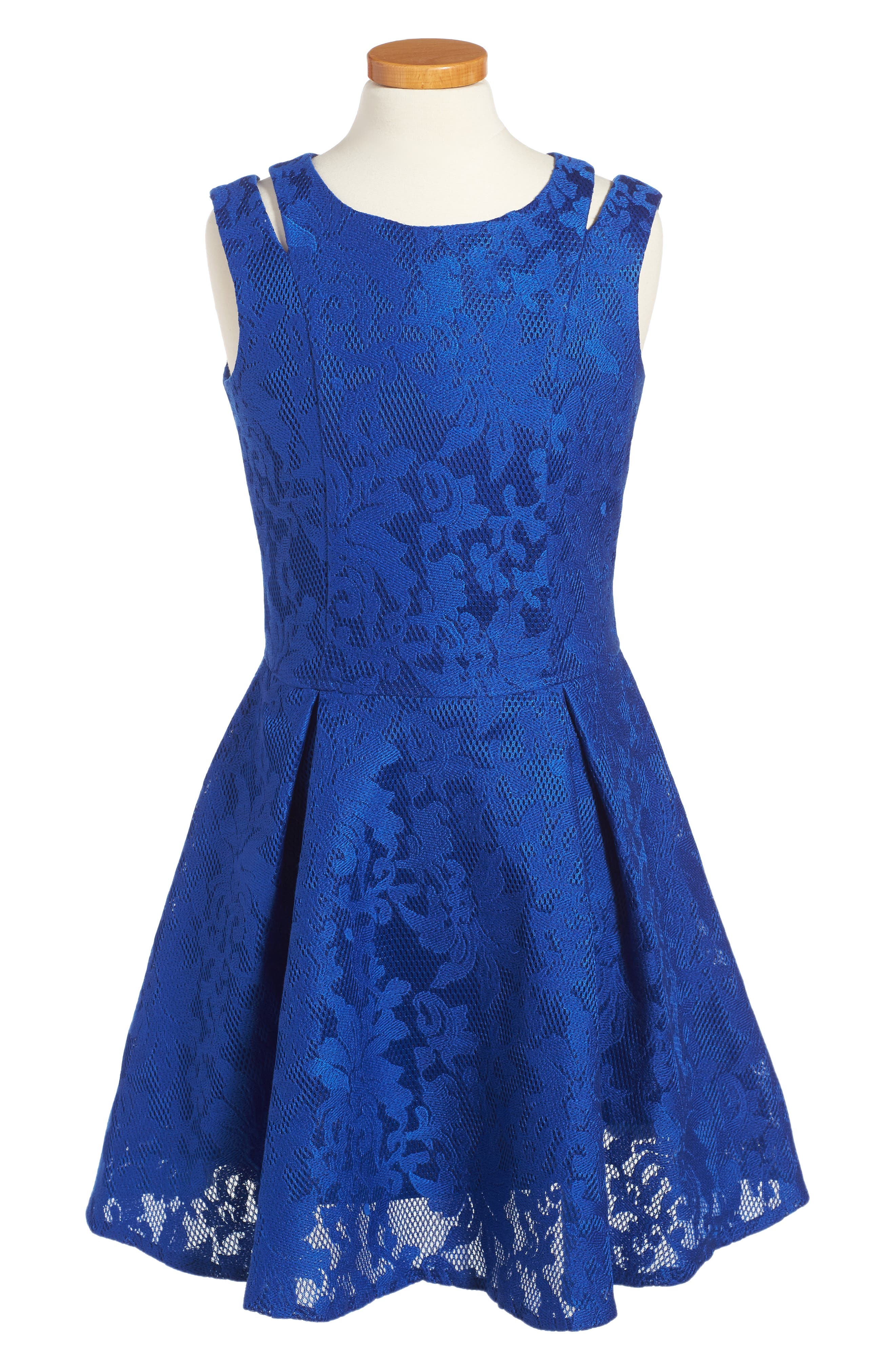 Embroidered Techno Dress,                         Main,                         color, Royal Blue