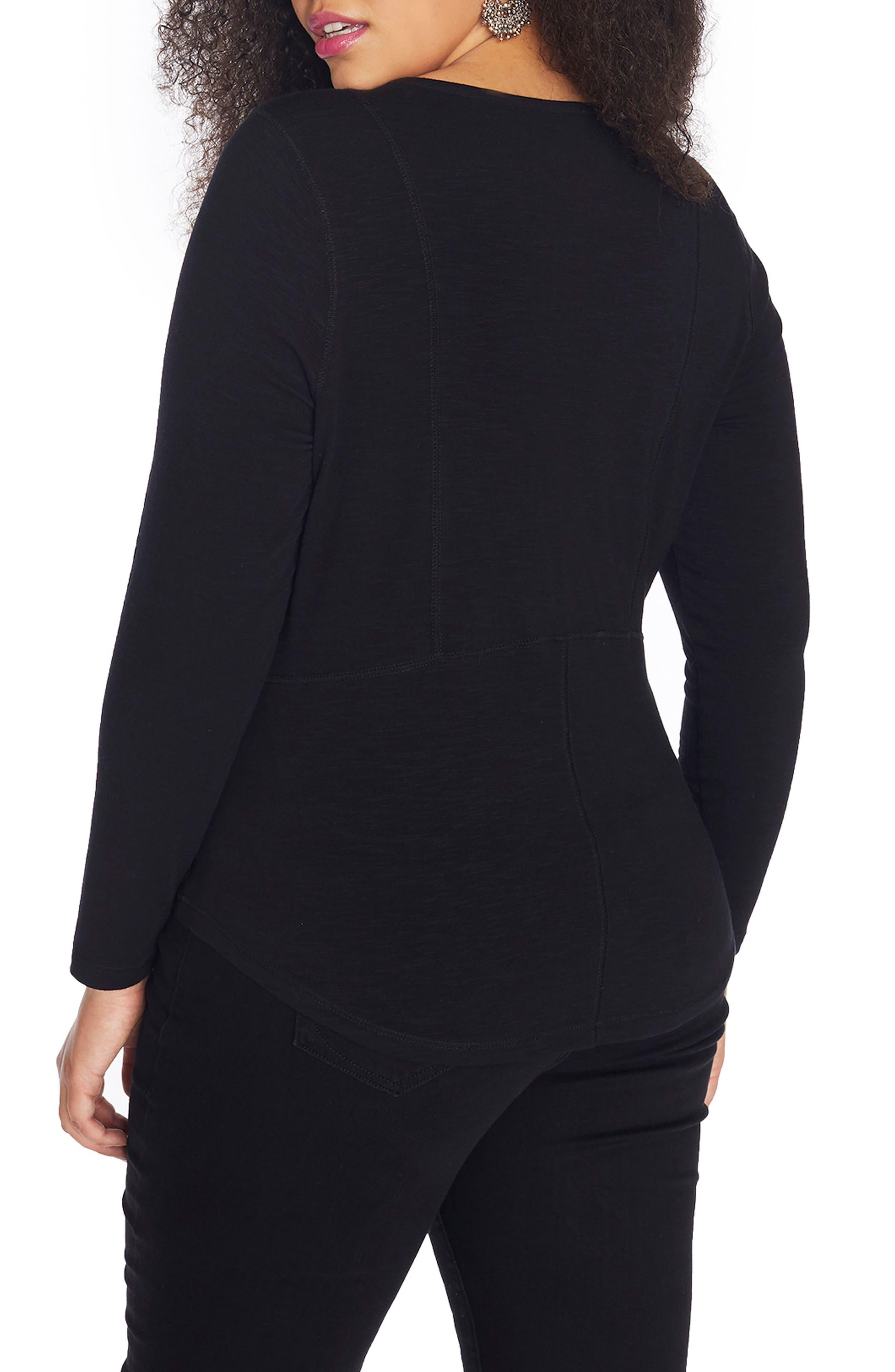 Lace-Up Slub Jersey Top,                             Alternate thumbnail 2, color,                             Black Beauty