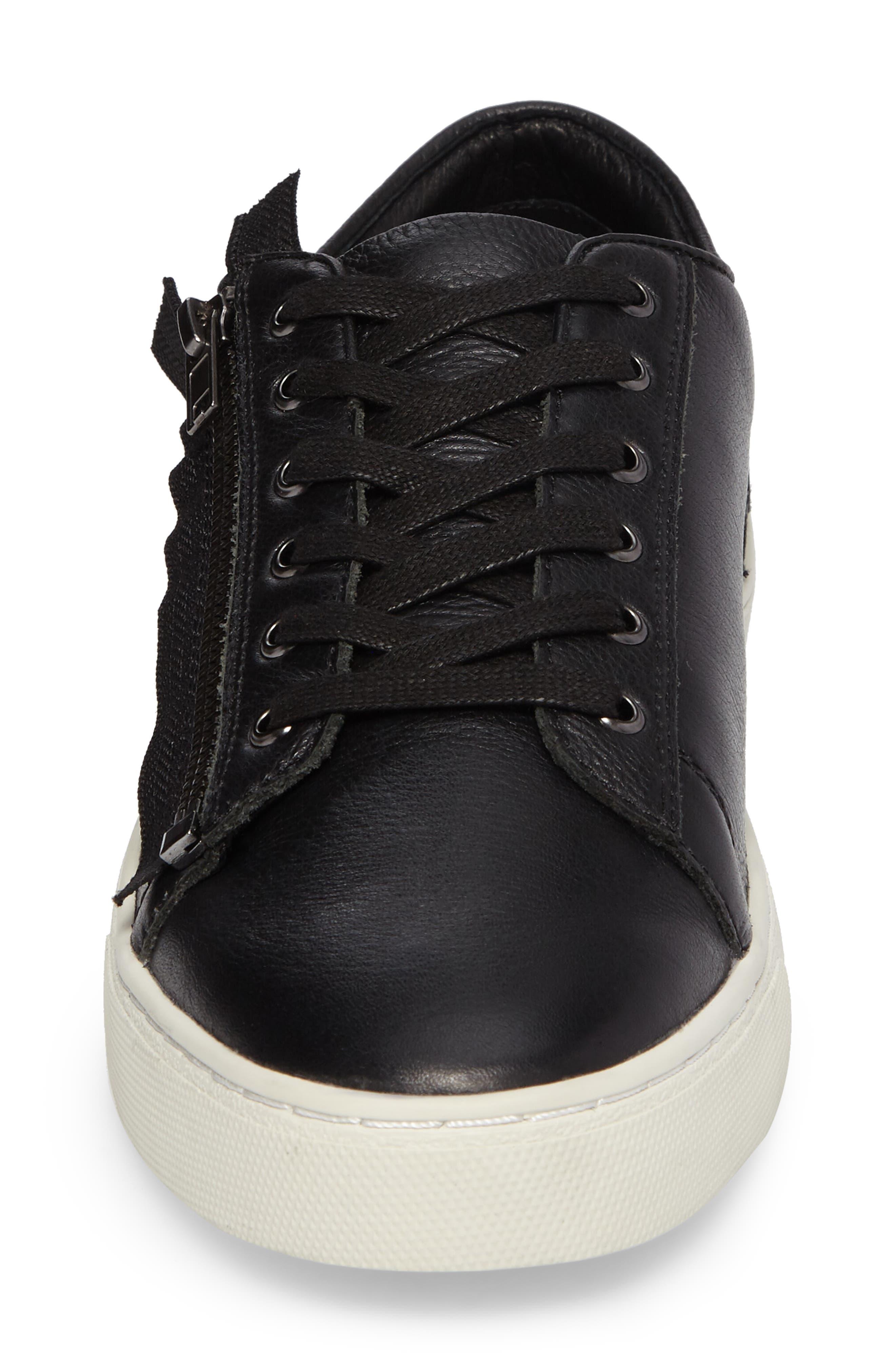 Wayne Sneaker,                             Alternate thumbnail 4, color,                             Black Leather