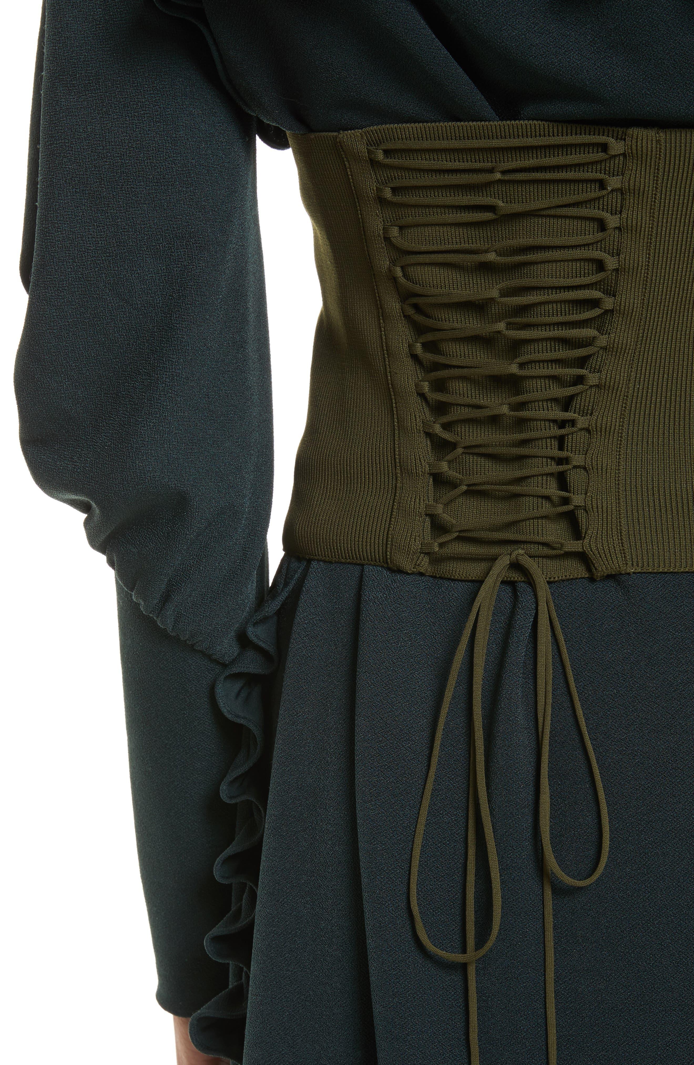 Lace-Up Knit Corset,                             Alternate thumbnail 4, color,                             Loden