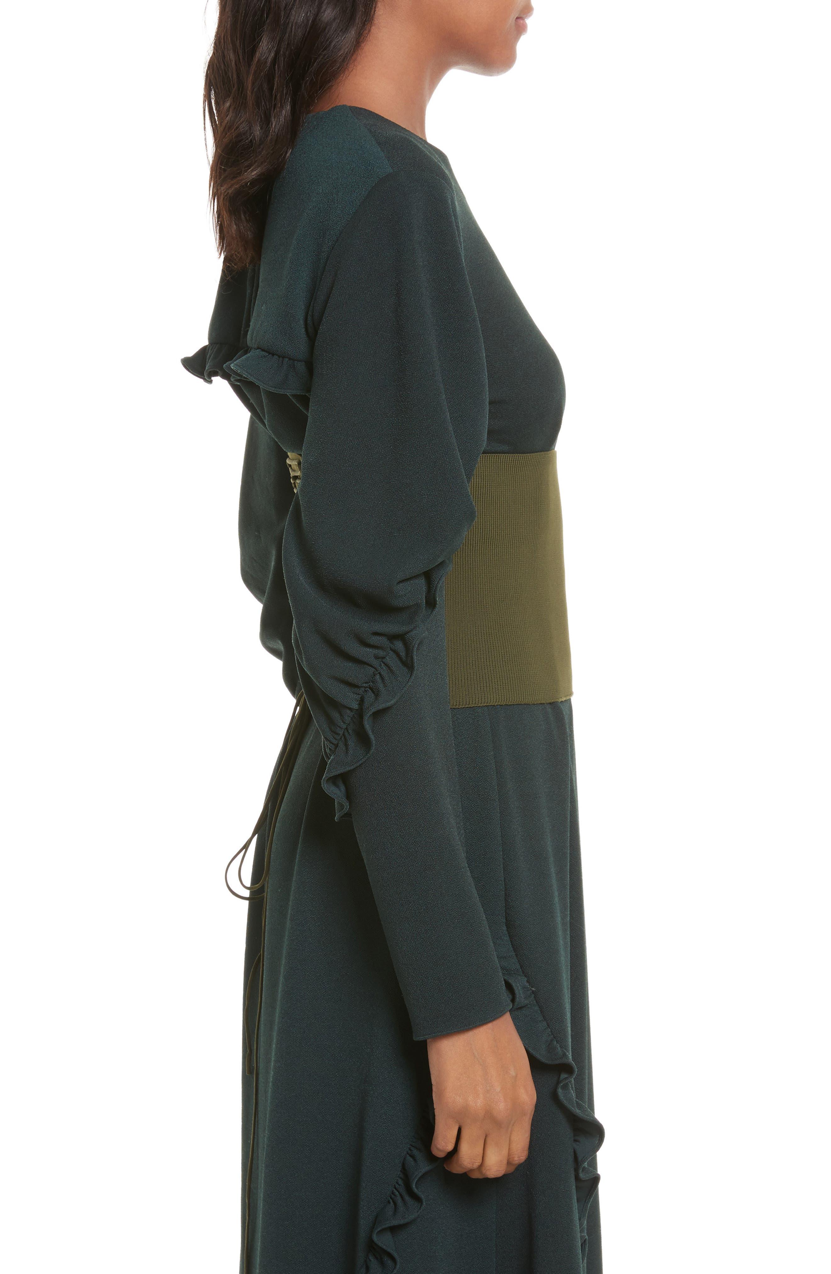 Lace-Up Knit Corset,                             Alternate thumbnail 3, color,                             Loden