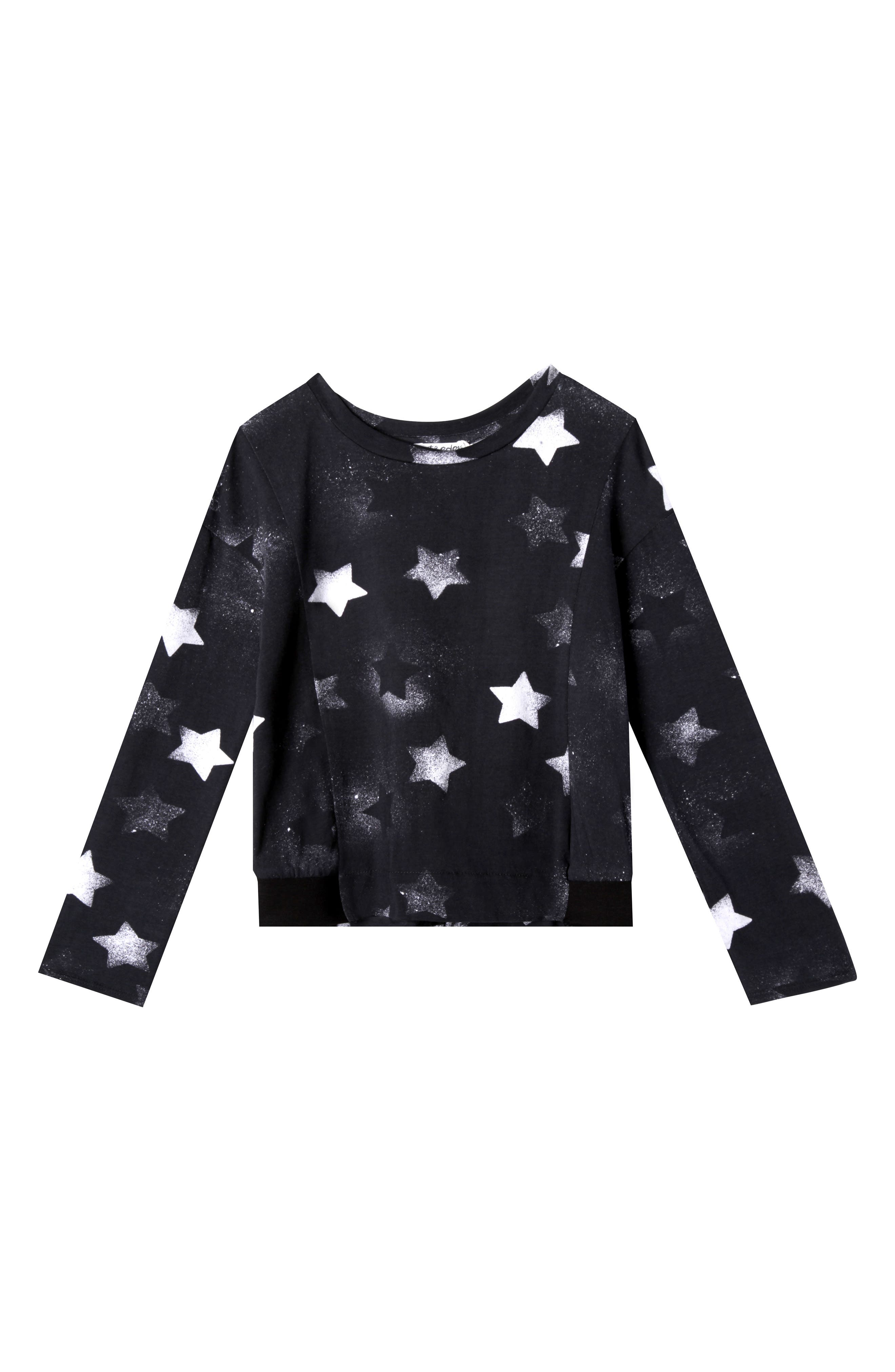 Eva Star Print Tee,                         Main,                         color, Black