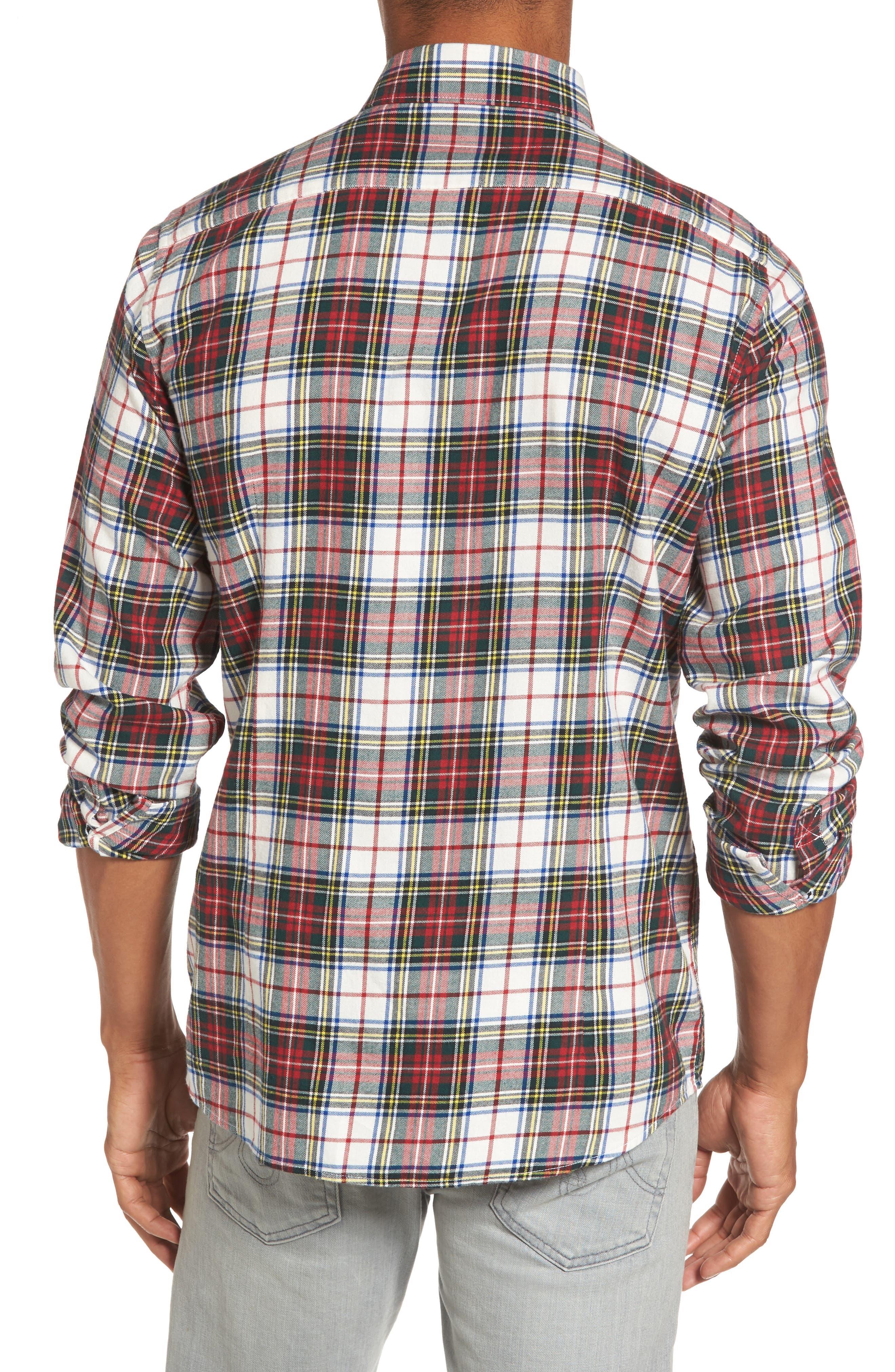 Alvin Tailored Fit Plaid Sport Shirt,                             Alternate thumbnail 2, color,                             White