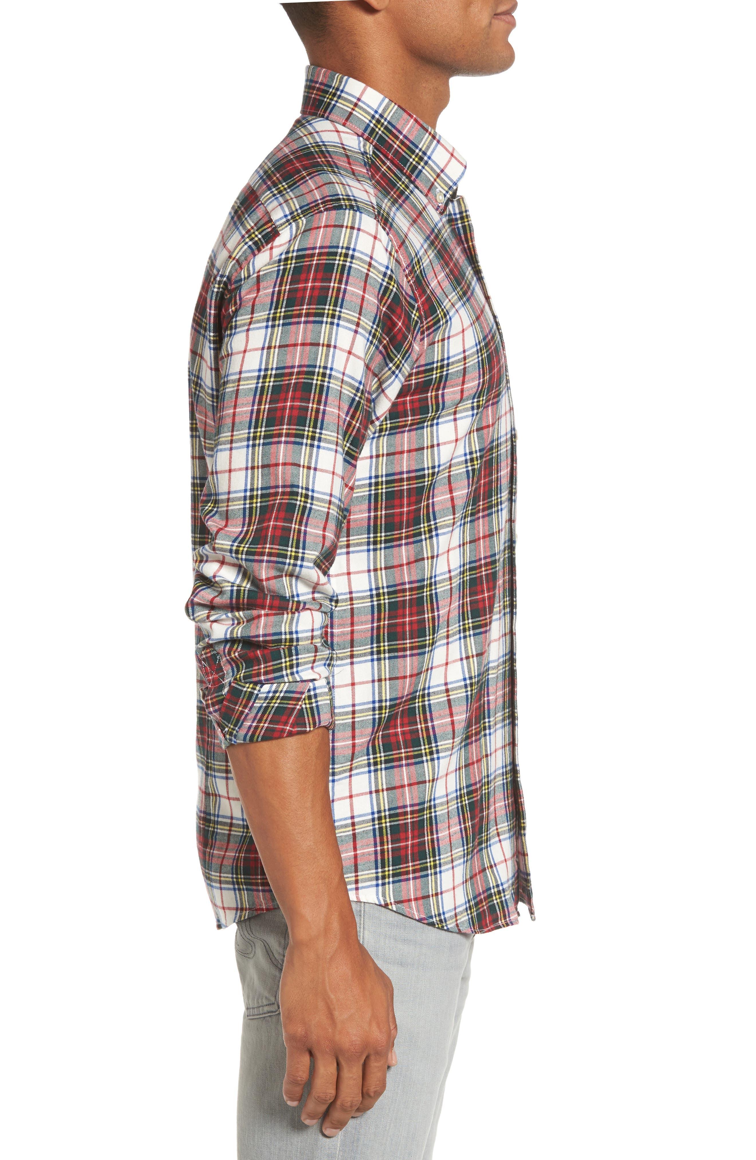 Alvin Tailored Fit Plaid Sport Shirt,                             Alternate thumbnail 3, color,                             White