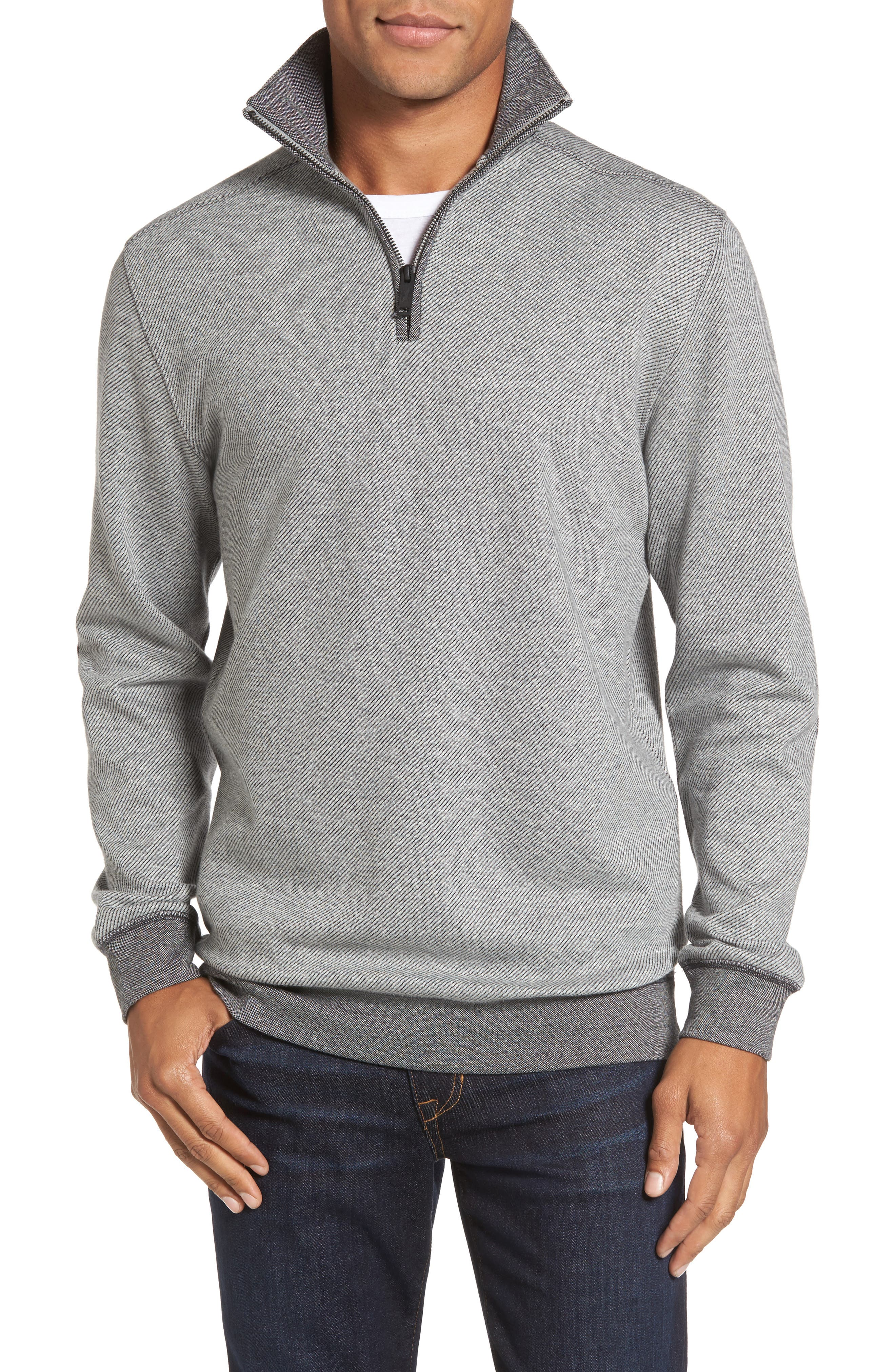 Meyer Desert Quarter Zip Pullover,                             Main thumbnail 1, color,                             Smoke