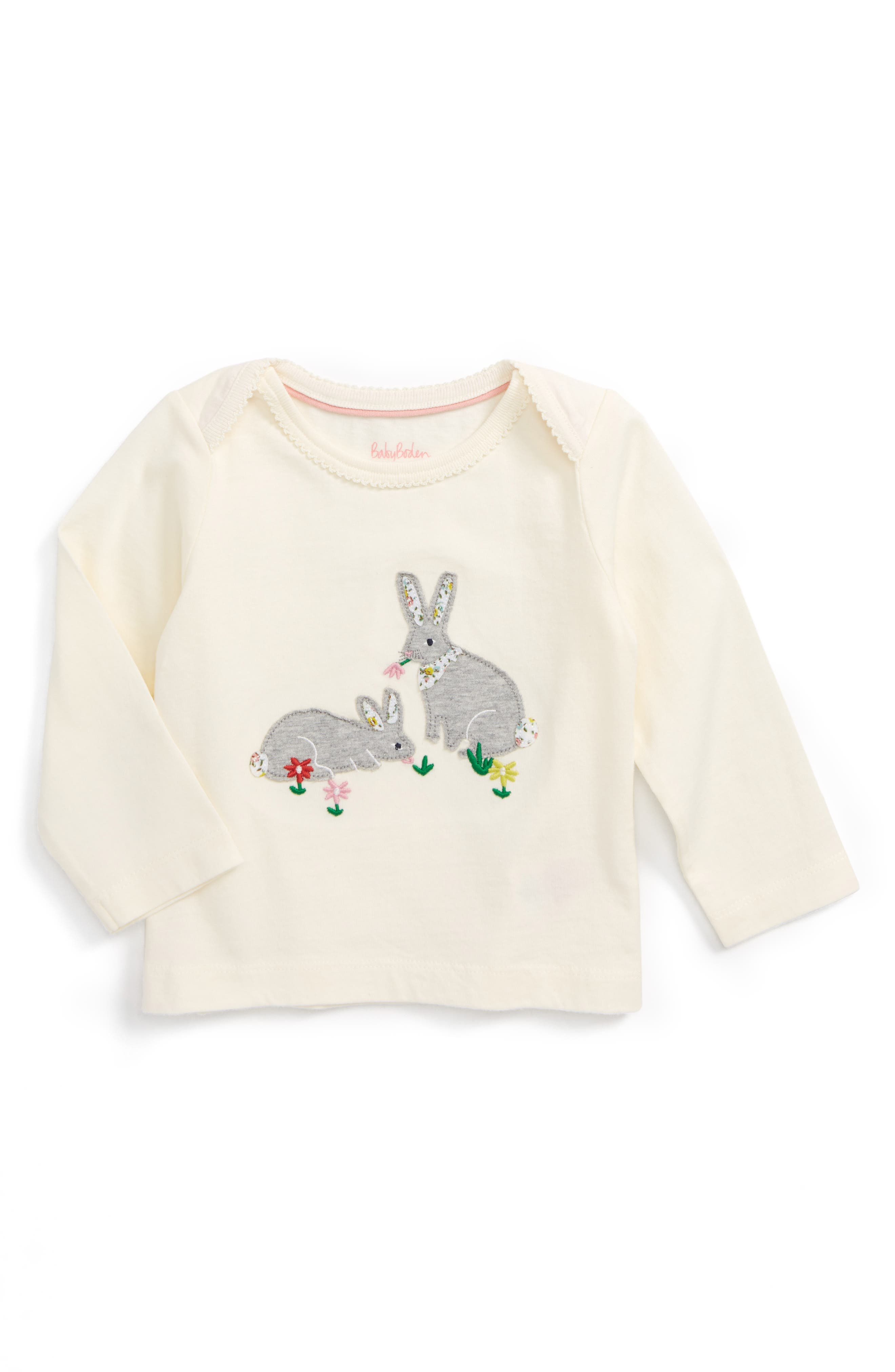 Mini Boden Woodland Appliqué Tee (Baby Girls & Toddler Girls)