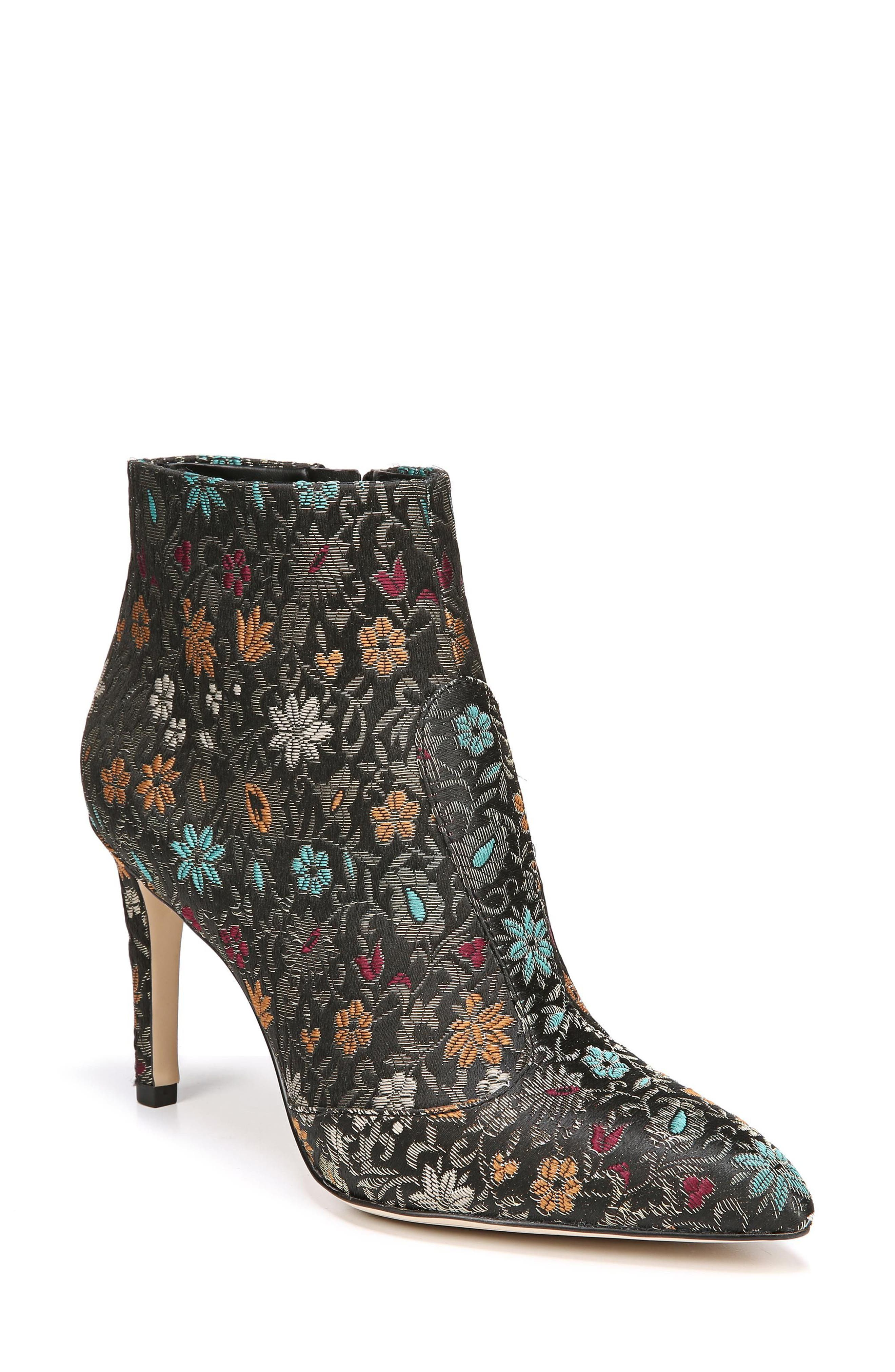 Olette Pointy Toe Bootie,                             Main thumbnail 1, color,                             Black Floral Brocade