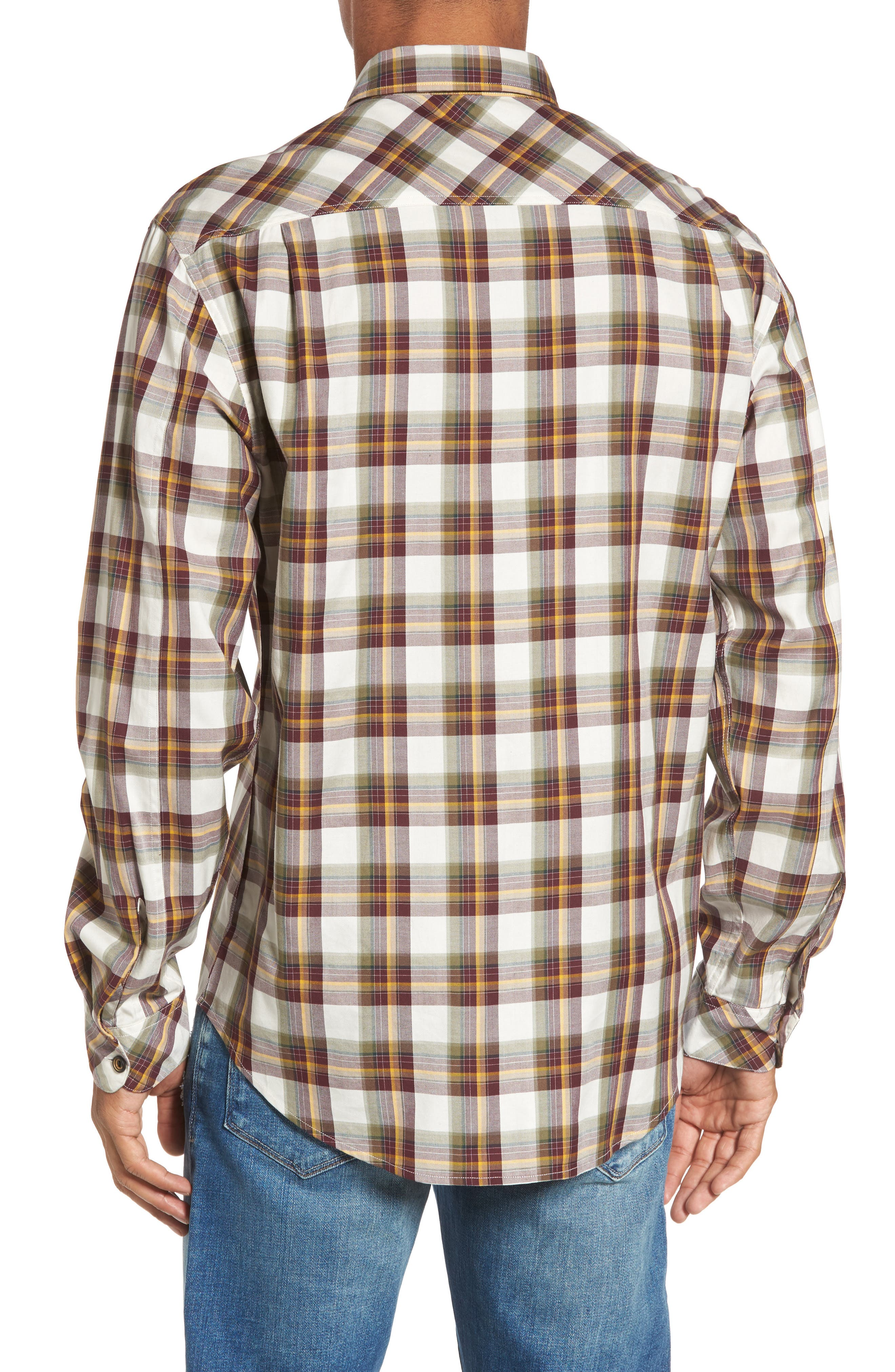 Seacliff Plaid Flannel Shirt,                             Alternate thumbnail 2, color,                             Merlot