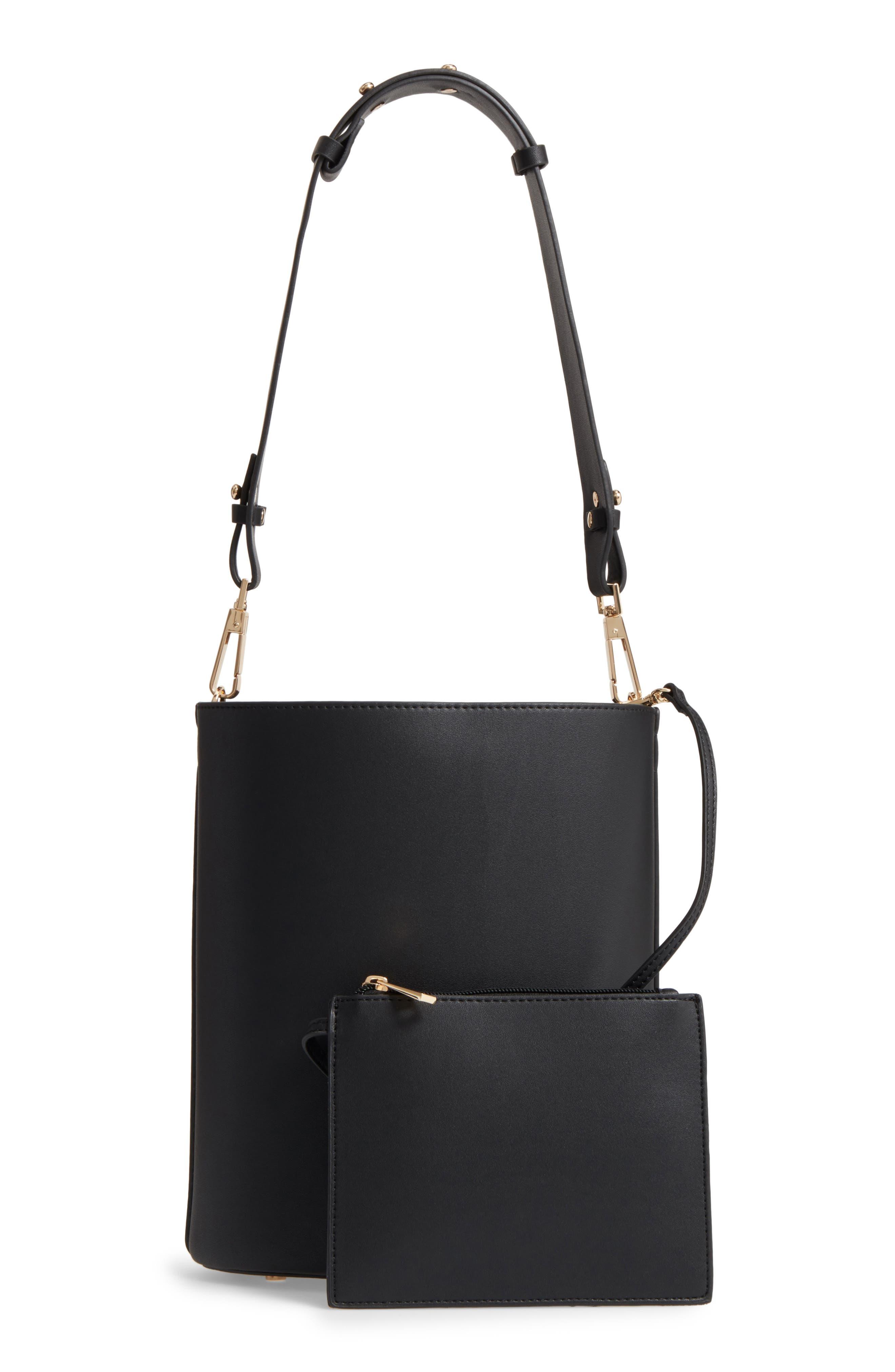 Sadie Floral Faux Leather Bucket Bag,                             Alternate thumbnail 3, color,                             Black Multi